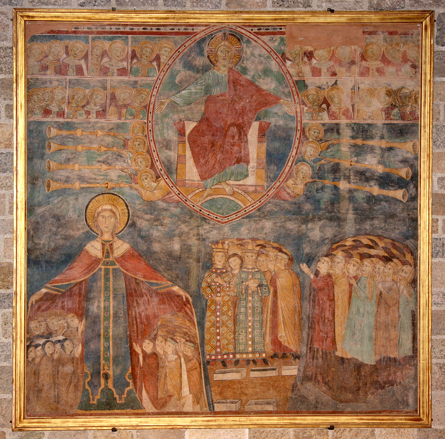 Christ in Majesty, from a church in Spoleto, 14th century, fresco, in the Great Hall of Glencairn Museum. In 1931 Raymond Pitcairn loaned this fresco to the Philadelphia Museum of Art for the opening of their new medieval galleries.