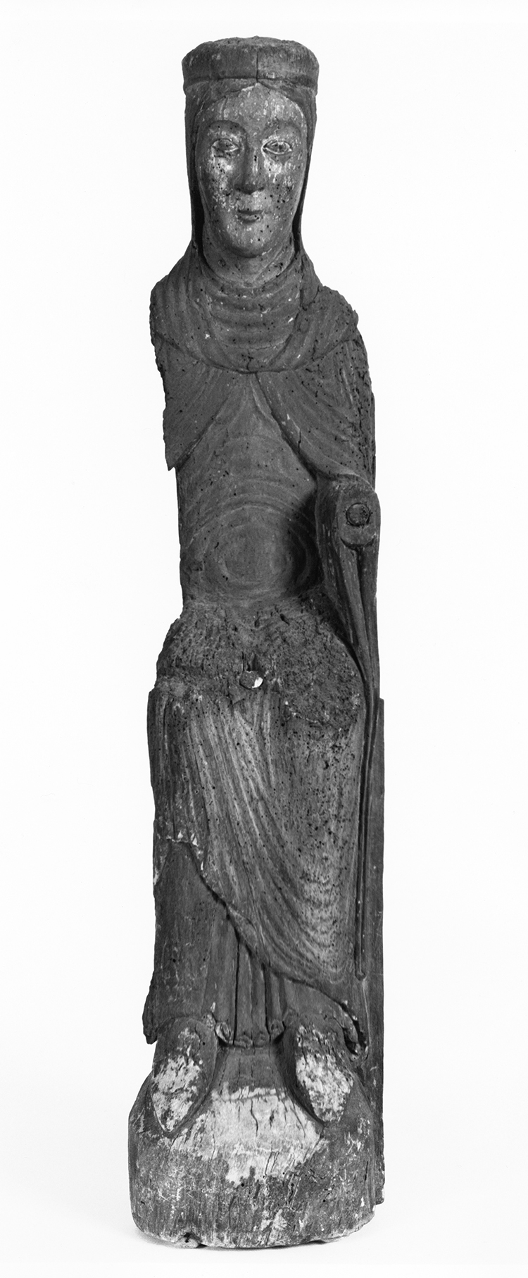 Figure 18: Enthroned Virgin, Île de France, third quarter of the 12th century, wood with polychromy, 44 x 9 ½ x 8 in., long-term loan of Glencairn Museum.