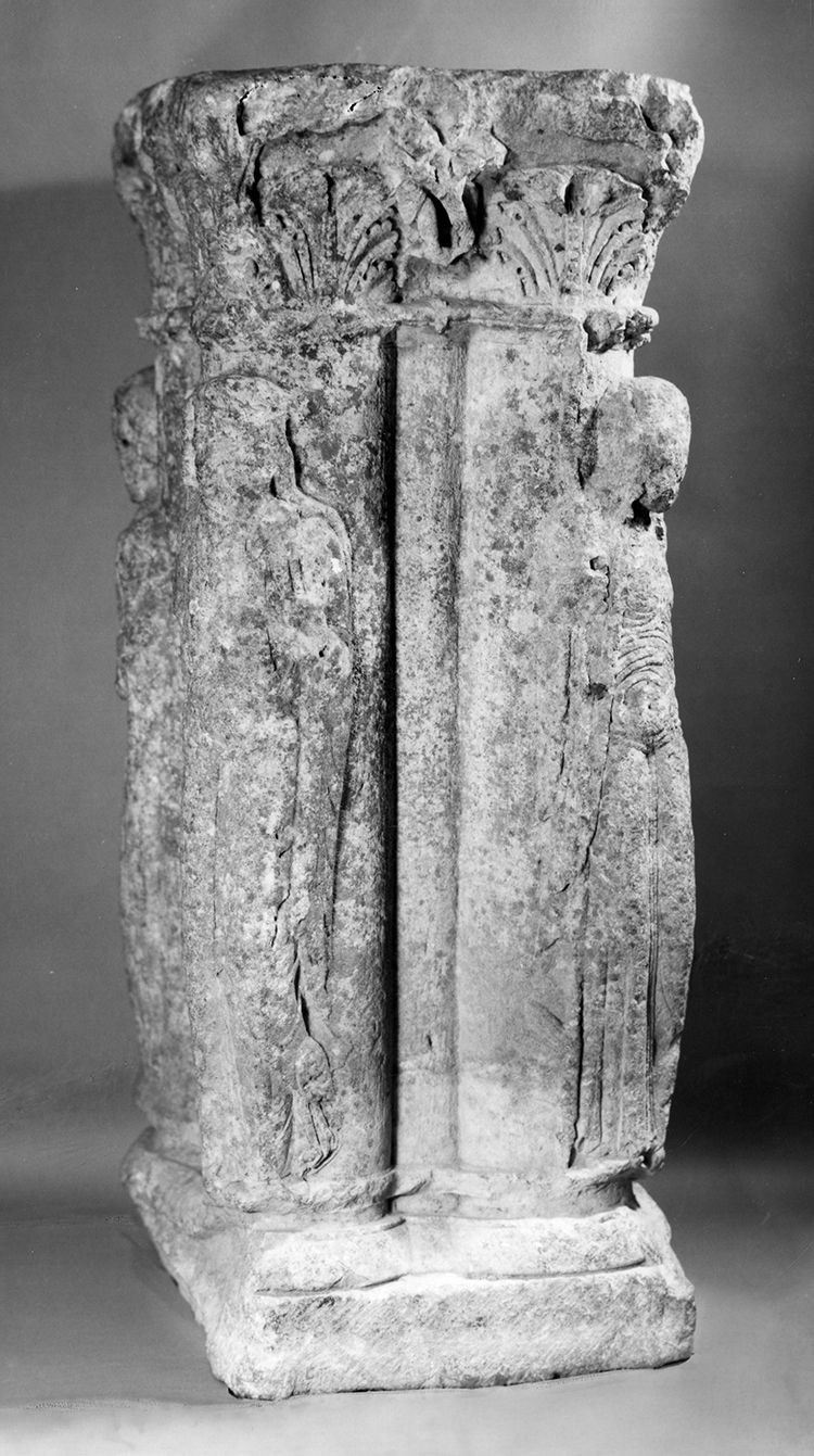 Figure 9: Compound Support with Allegorical Figures, French, c. 1170-80, limestone, 43 x 16 ½ x 6 ¾ in., Glencairn Museum.