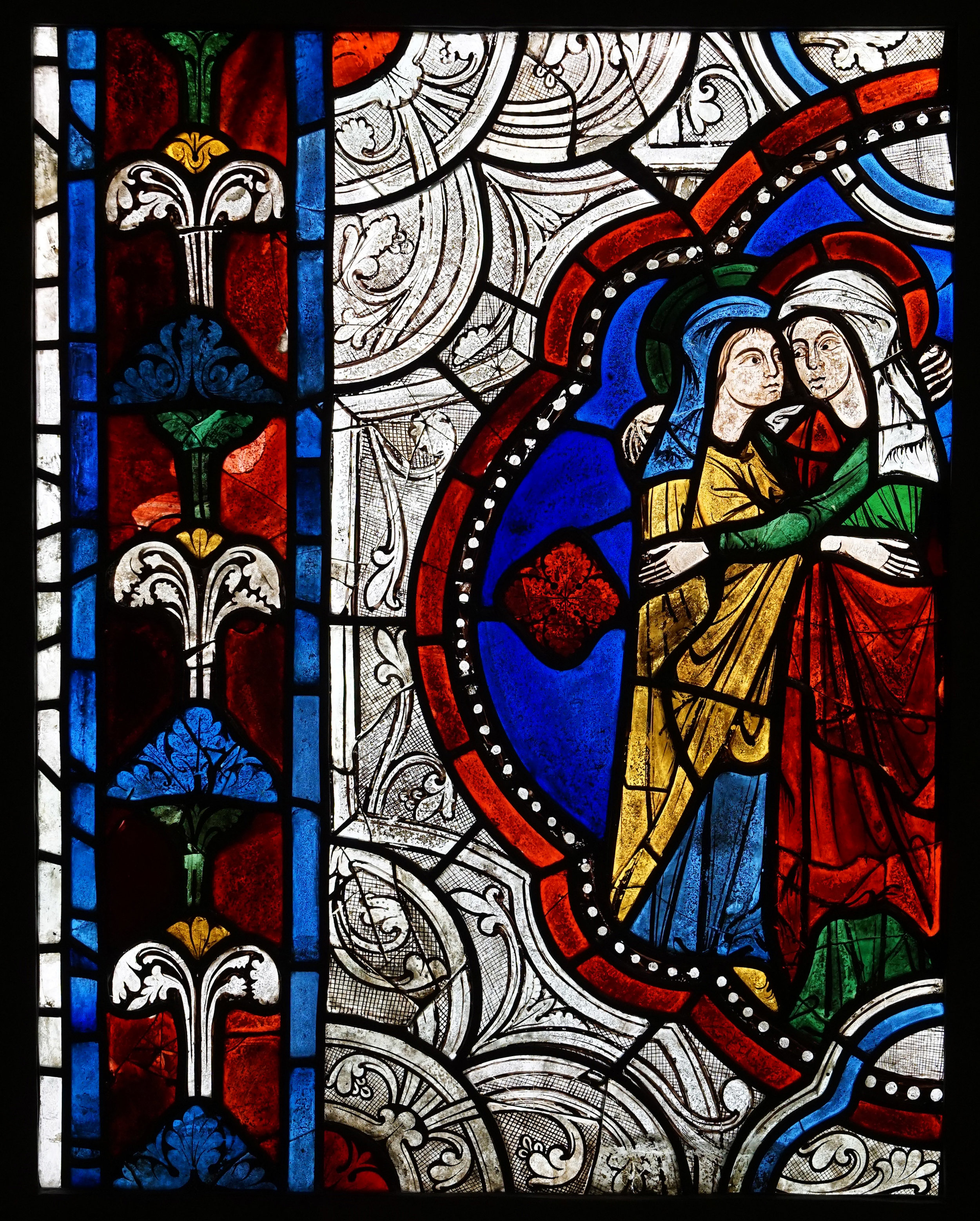 Figure 1:The Visitation. From the Church of Sainte-Radegonde in Poitiers, France, c. 1270-75. Now in Glencairn Museum, Bryn Athyn, PA, 03.SG.43.