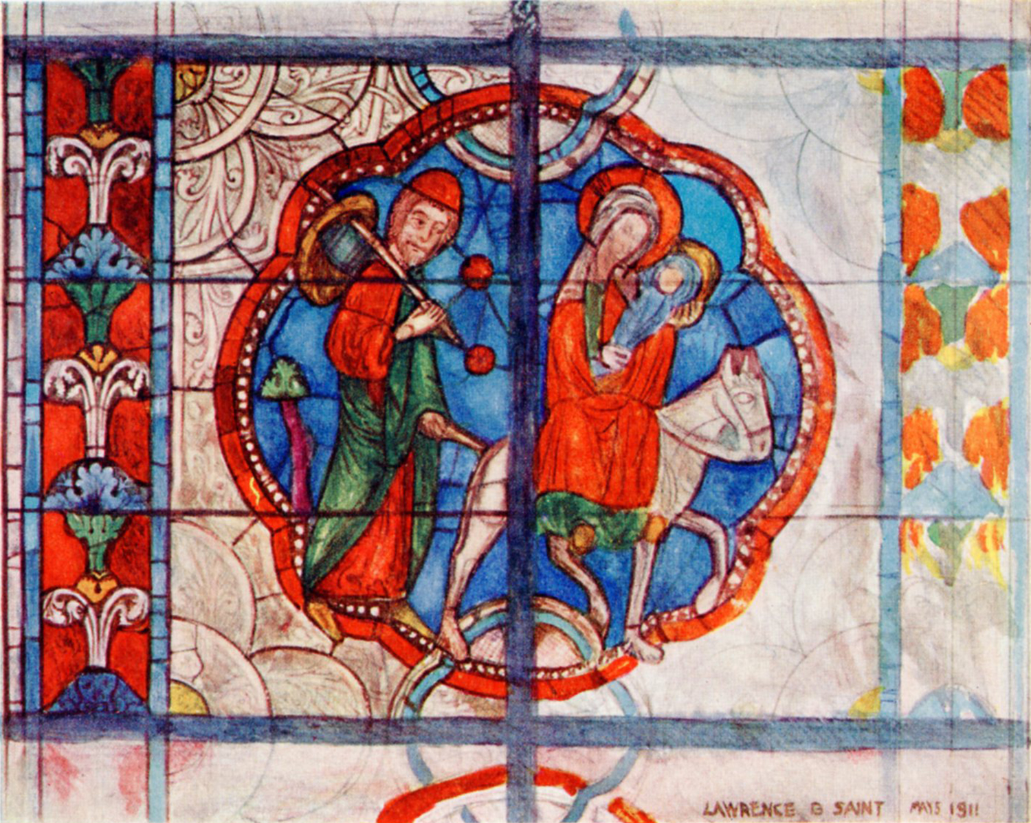 Figure 2:Lawrence B. Saint, 1911 watercolor rendering of the scene of the Flight into Egypt from the church of Sainte-Radegonde in Poitiers (reproduced in Hugh Arnold and Lawrence B. Saint,  Stained Glass of the Middle Ages in England and France . London, 1913, pl. XV).