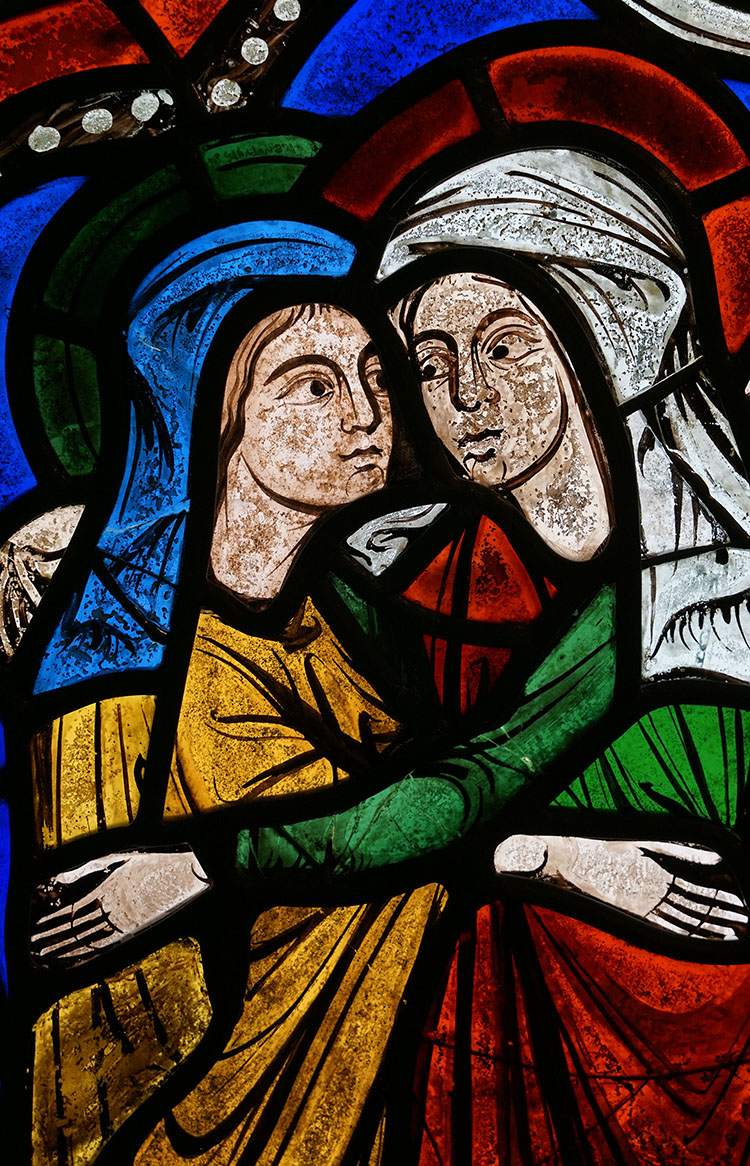 Figure 3:Detail of the heads of the two figures in the Glencairn Visitation.