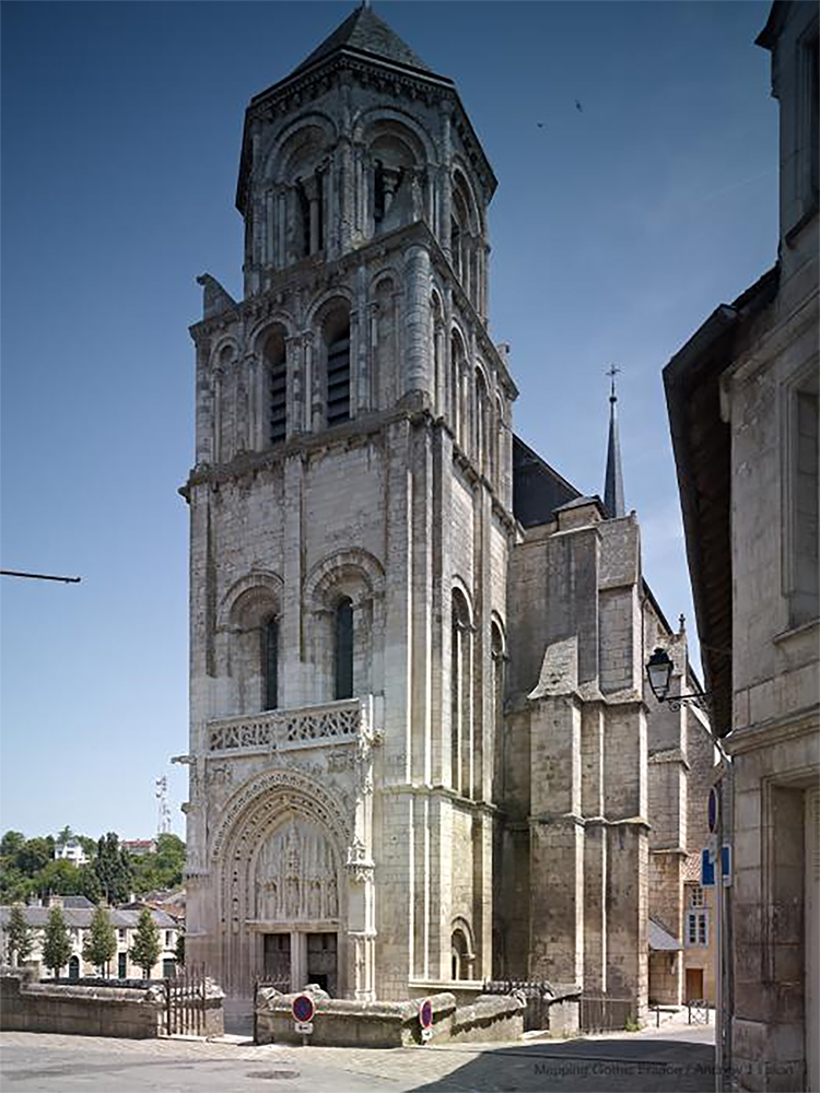Figure 4:Church of Sainte-Radegonde, Poitiers, France. Exterior view from the West (photo Andrew Tallon, mappinggothic.org).