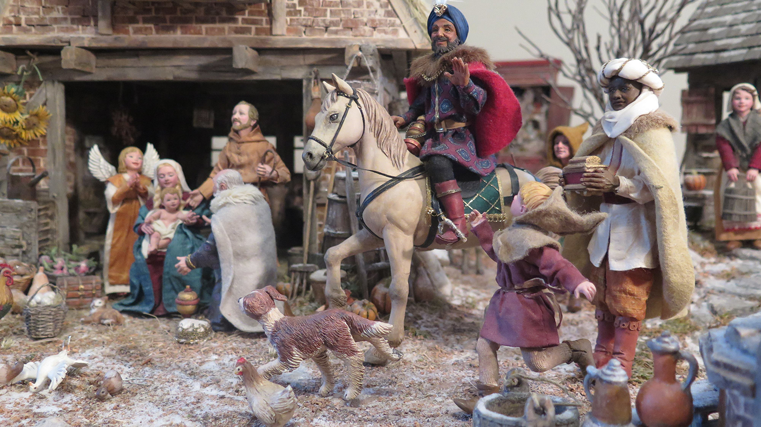 Figure 2: Three wise men arrive at the stable with gifts for the Christ Child. This three-dimensional Flemish Nativity was made by Karen Loccisano and her husband R. Michael Palan. Photo by R. Michael Palan.