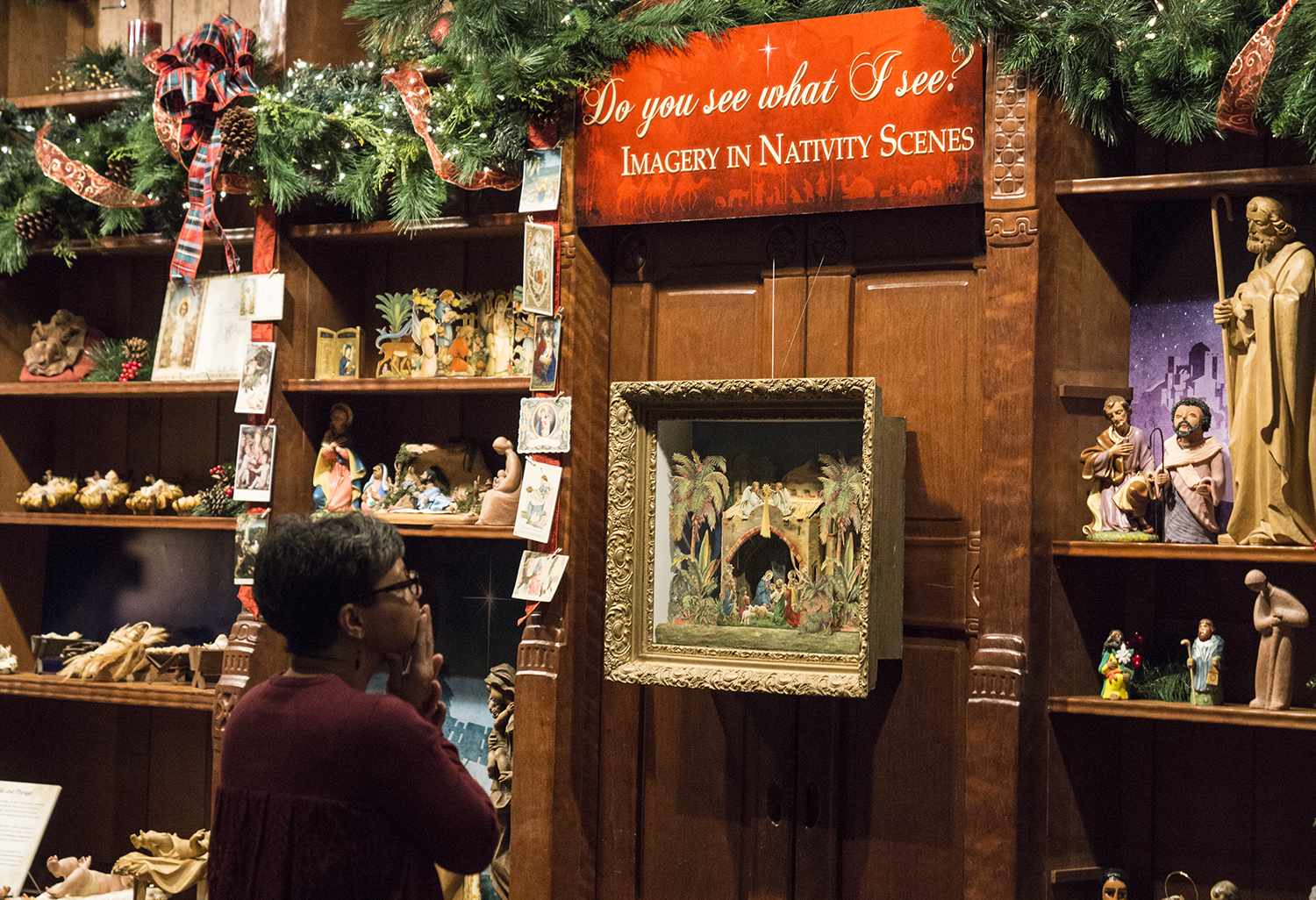 Figure 17: Do You See What I See? Imagery in Nativity Scenes , a special exhibition in the library section of Glencairn's Great Hall, was designed to complement Glencairn's annual  World Nativities  exhibition.