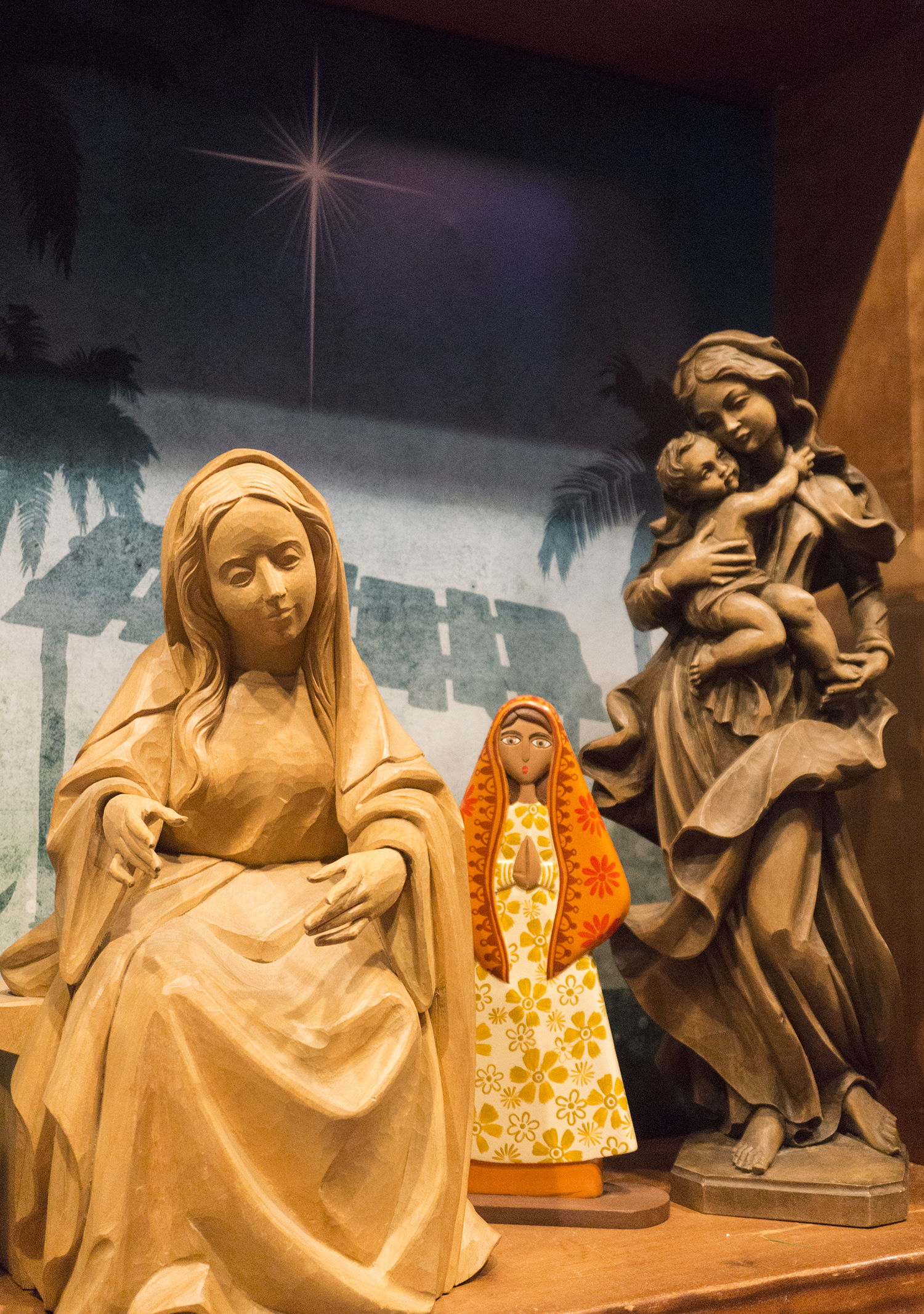 Figure 18: One of the themes of the  Do You See What I See? Imagery in Nativity Scenes  exhibition presents the history and symbolism of the depiction of Mary in Nativity scenes.