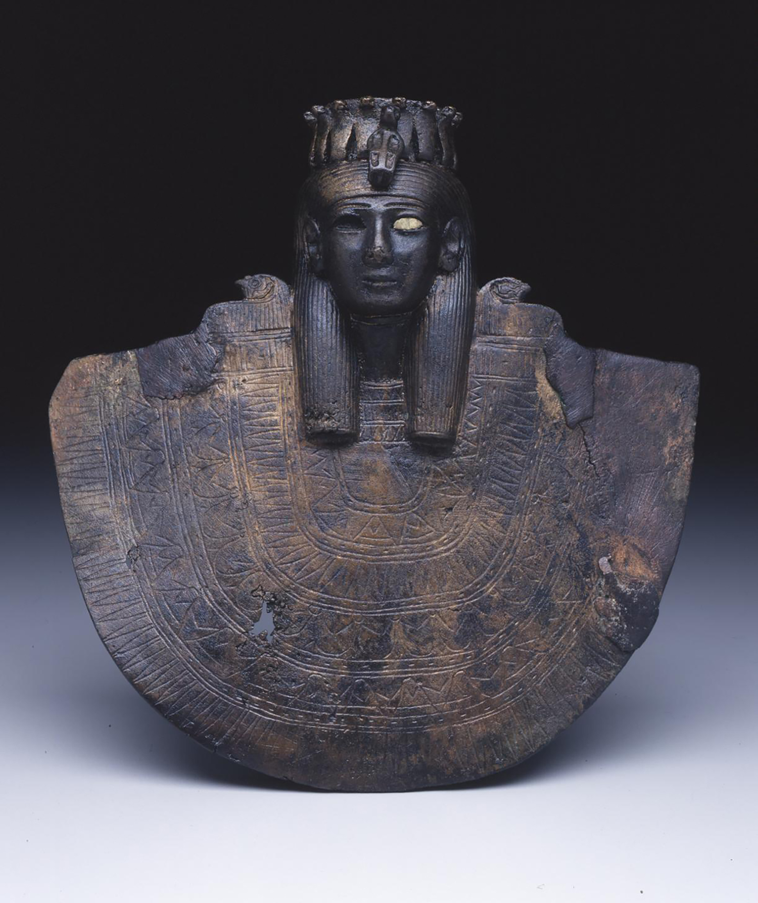 Figure 17:   Aegis  . This bronze  aegis  (see also Figure 16) takes the form of the head of a female deity atop an oversized broad collar. Image courtesy of Penn Museum, E13001.