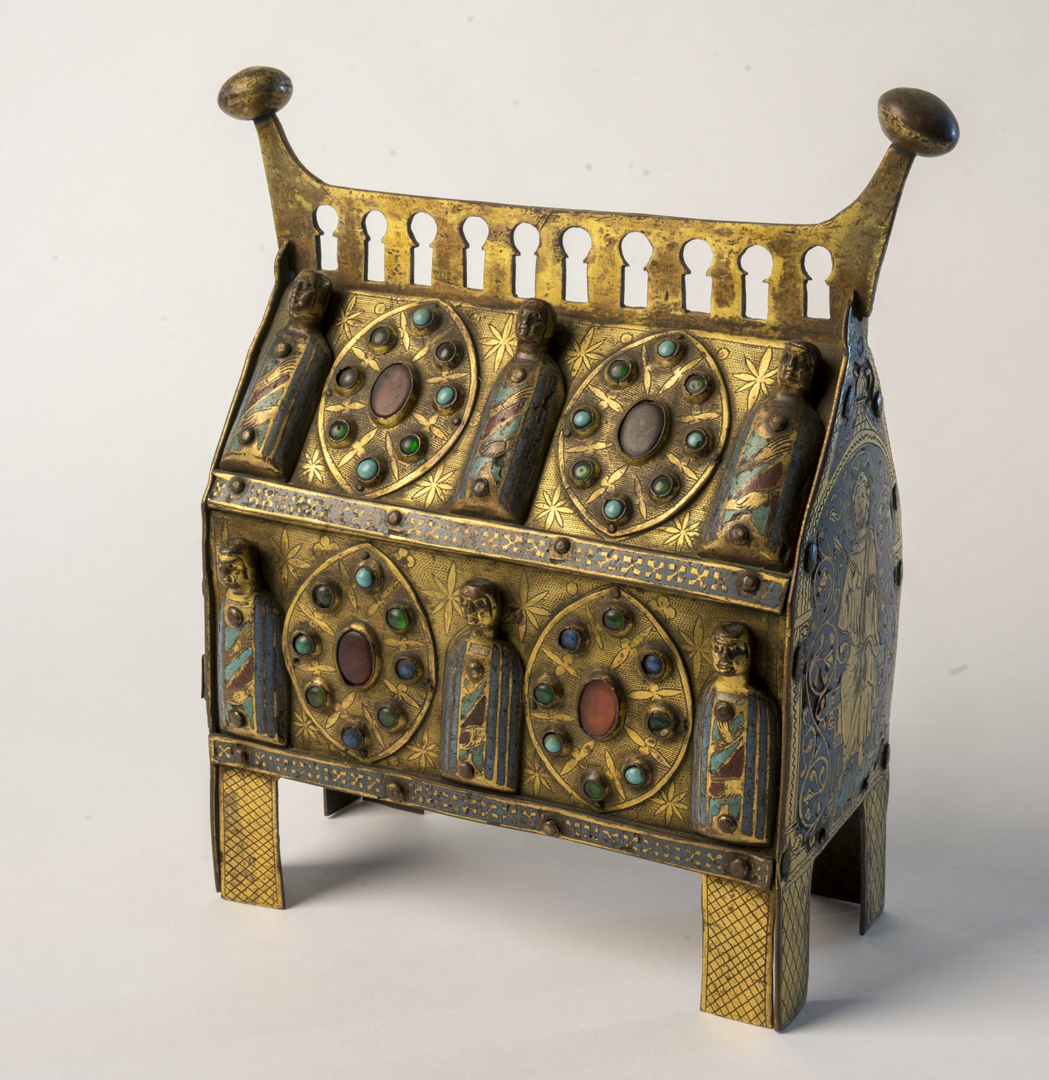 Figure 6:This copper and enamel reliquary, made during the thirteenth century in Limoges, France, was intended for the veneration of a saint's relics. The front features the images of six saints. On exhibit in Glencairn Museum's Medieval Treasury (05.EN.111).