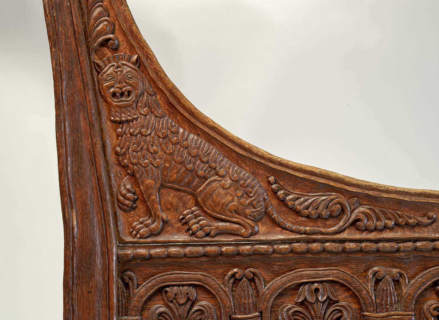 Figure 18: Bryn Athyn Cathedral Tyldal-style chair depicting a lion. This chair also features a depiction of Samson slaying a lion (Judges 14:5) on the chair back (front side).