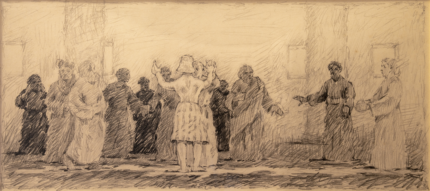 Figure 13:  Joseph Revealing His True Identity to His Brothers . Study. Genesis 45:1-15 . Pencil, 1985. On loan from Siri Yardumian Hurst. See Figure 14.