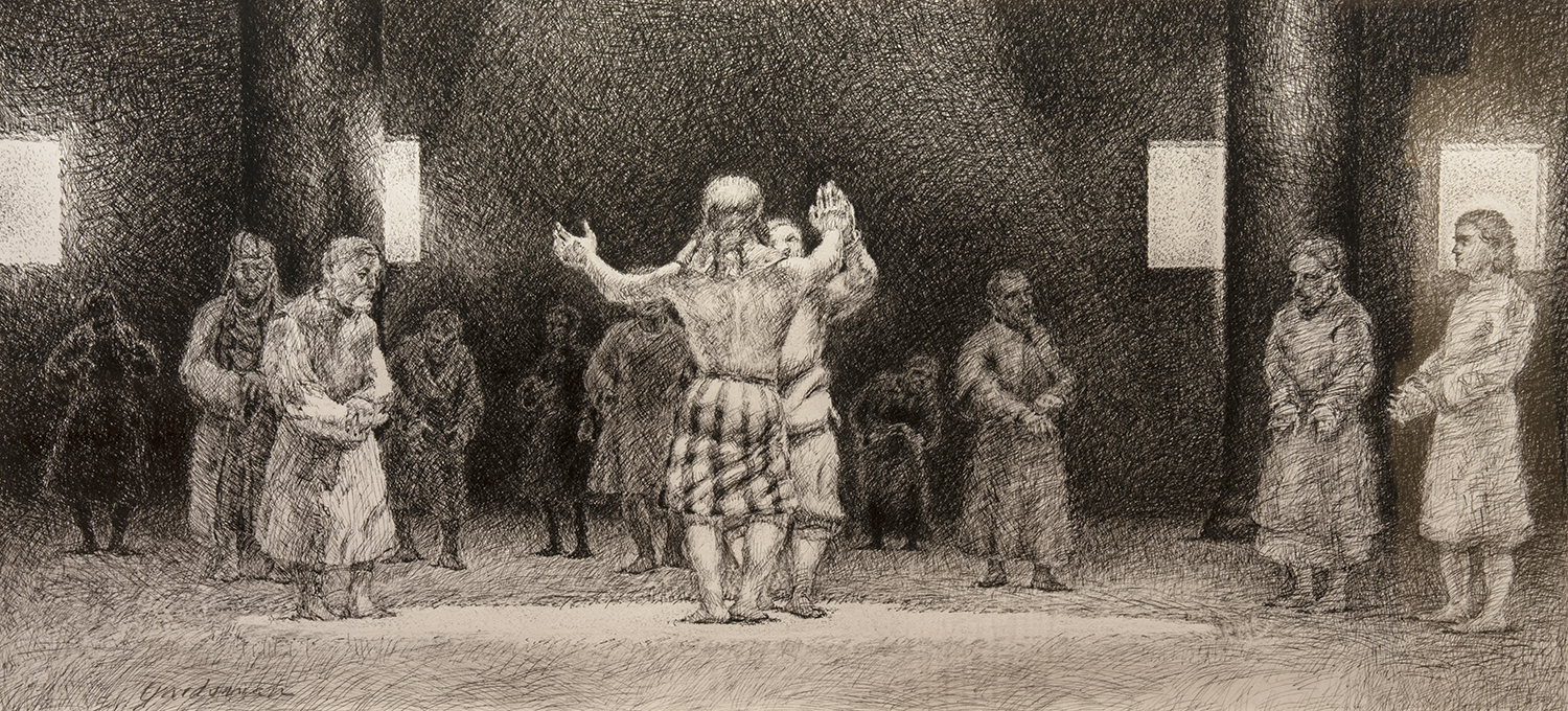 Figure 14: Joseph Revealing His True Identity to His Brothers .  Genesis 45:1-15 . Pen and ink, 1985. Collection of Glencairn Museum.See Figure 13.