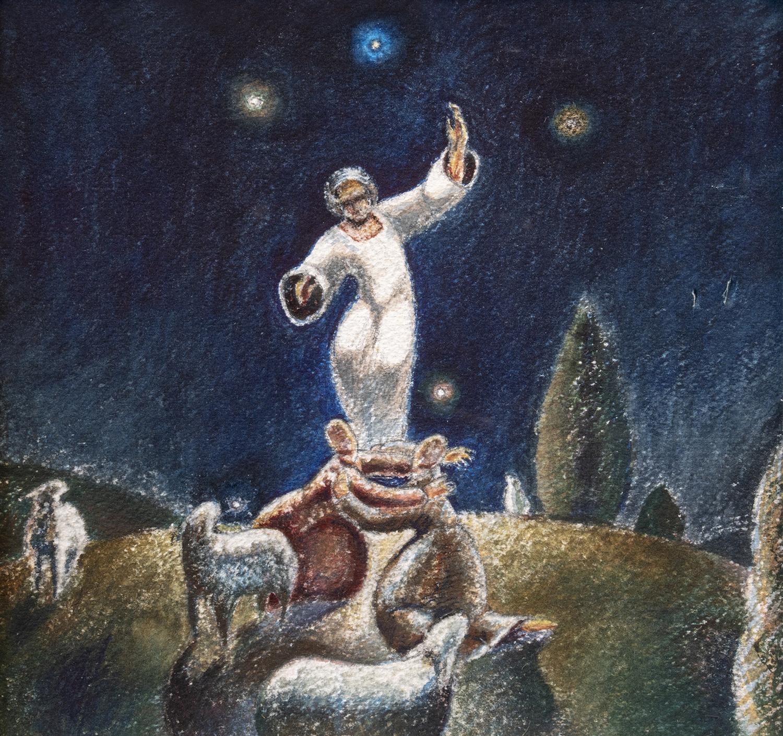 Figure 16:  Annunciation to Shepherds . Study. Luke 2:8-14 . Watercolor, 1977. On loan from Siri Yardumian Hurst. See Figure 17.