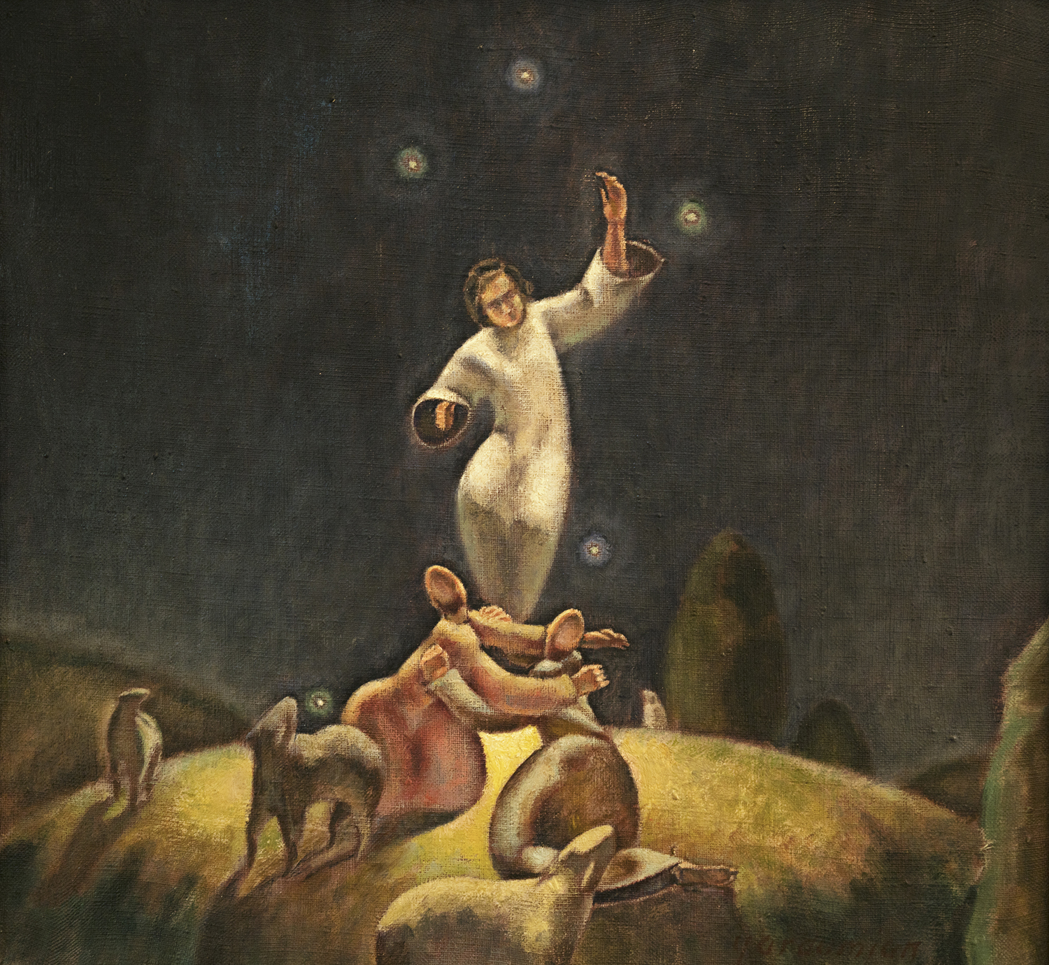 Figure 17:  Annunciation to Shepherds .  Luke 2:8-14 . Tempera and oil, 1977. Collection of Glencairn Museum. See Figure 16.