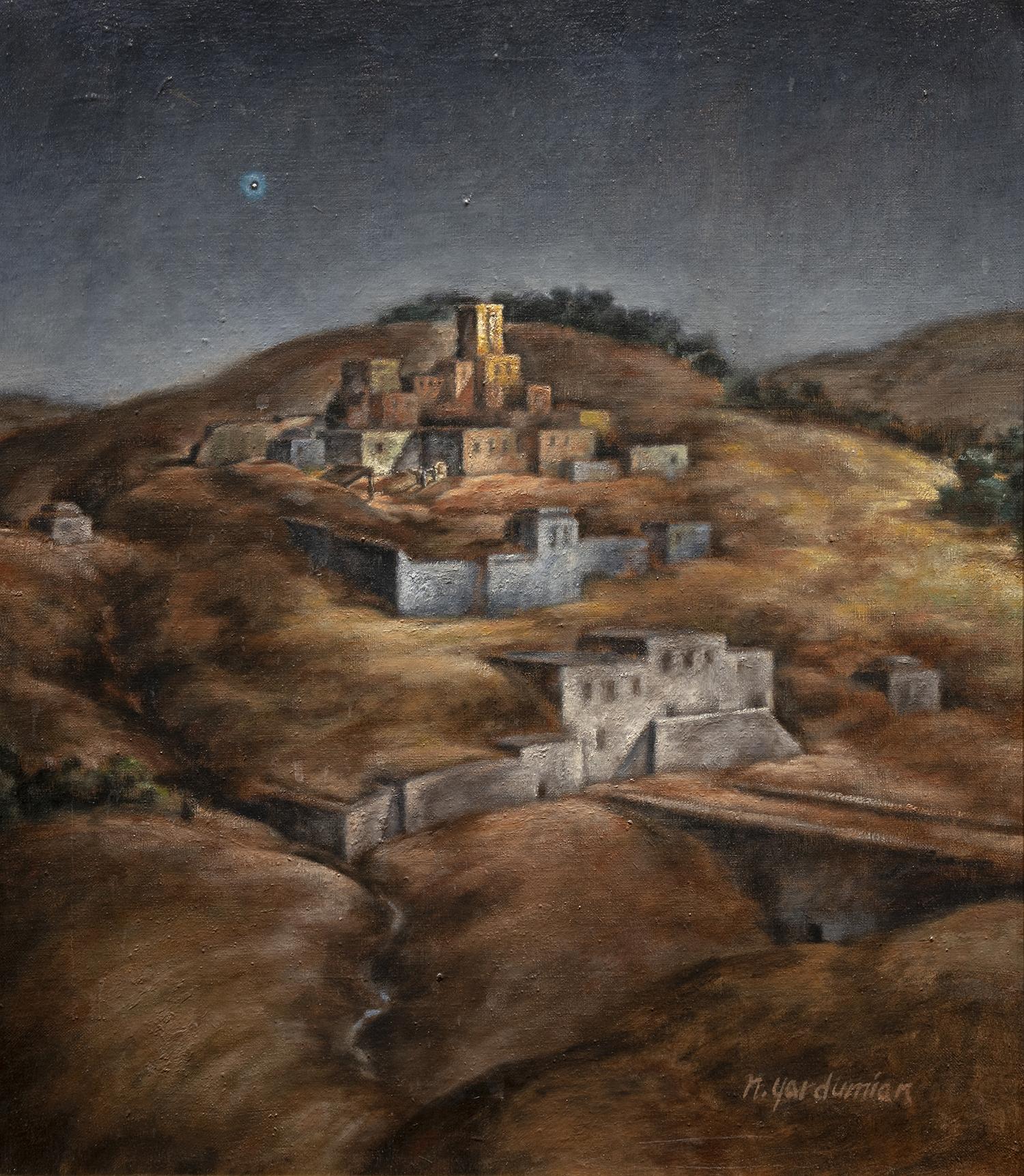 Figure 2:  Bethlehem .  Luke 2:4-7 . Tempera and oil,1978.On loan from Siri Yardumian Hurst.