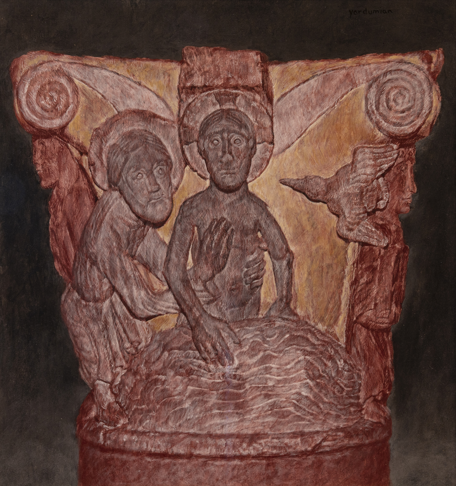 Figure 7:  Baptism of Christ . Mark 1:9-11 . Based on 12th c. French capital at Glencairn Museum. Tempera. On loan from Stephen Morley.