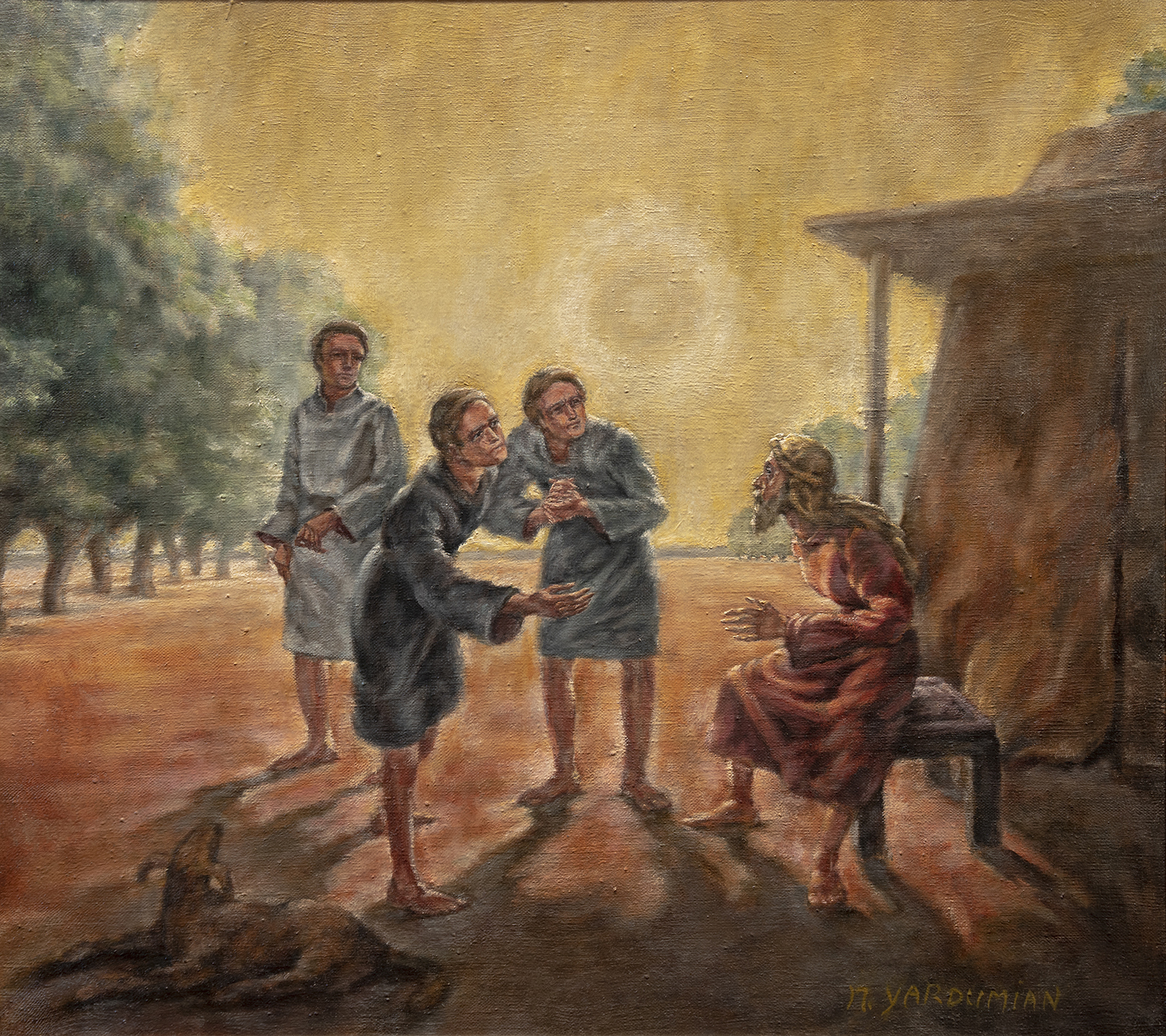 Figure 18:  Three Angels Appearing to Abraham .  Genesis 18:1-15 . Tempera and oil, 1977. Collection of Glencairn Museum.