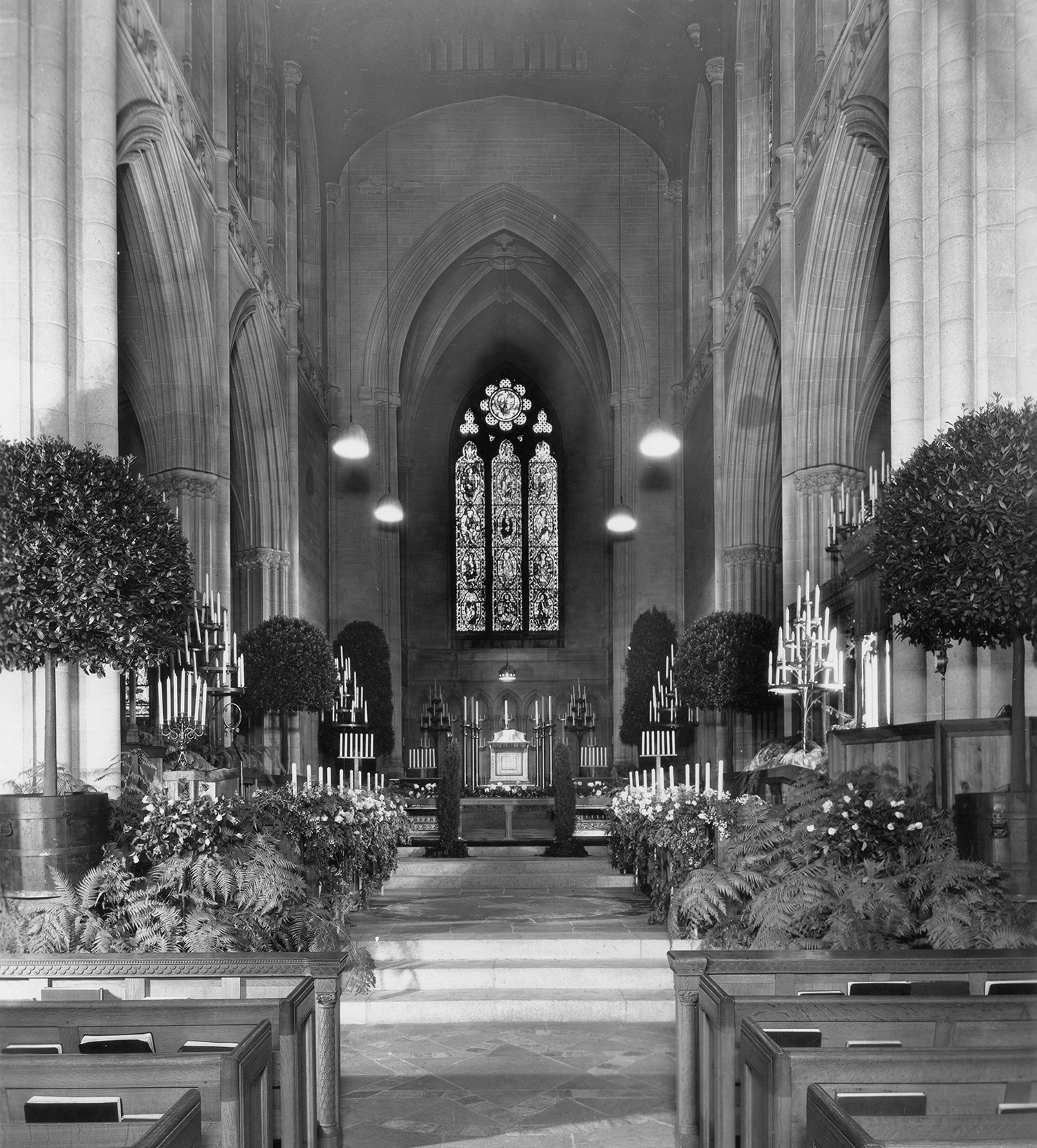Figure 3: Bryn Athyn Cathedral decorated for the June 8, 1934 wedding of Gabriele Pitcairn and the Rev. Willard Dandridge Pendleton.