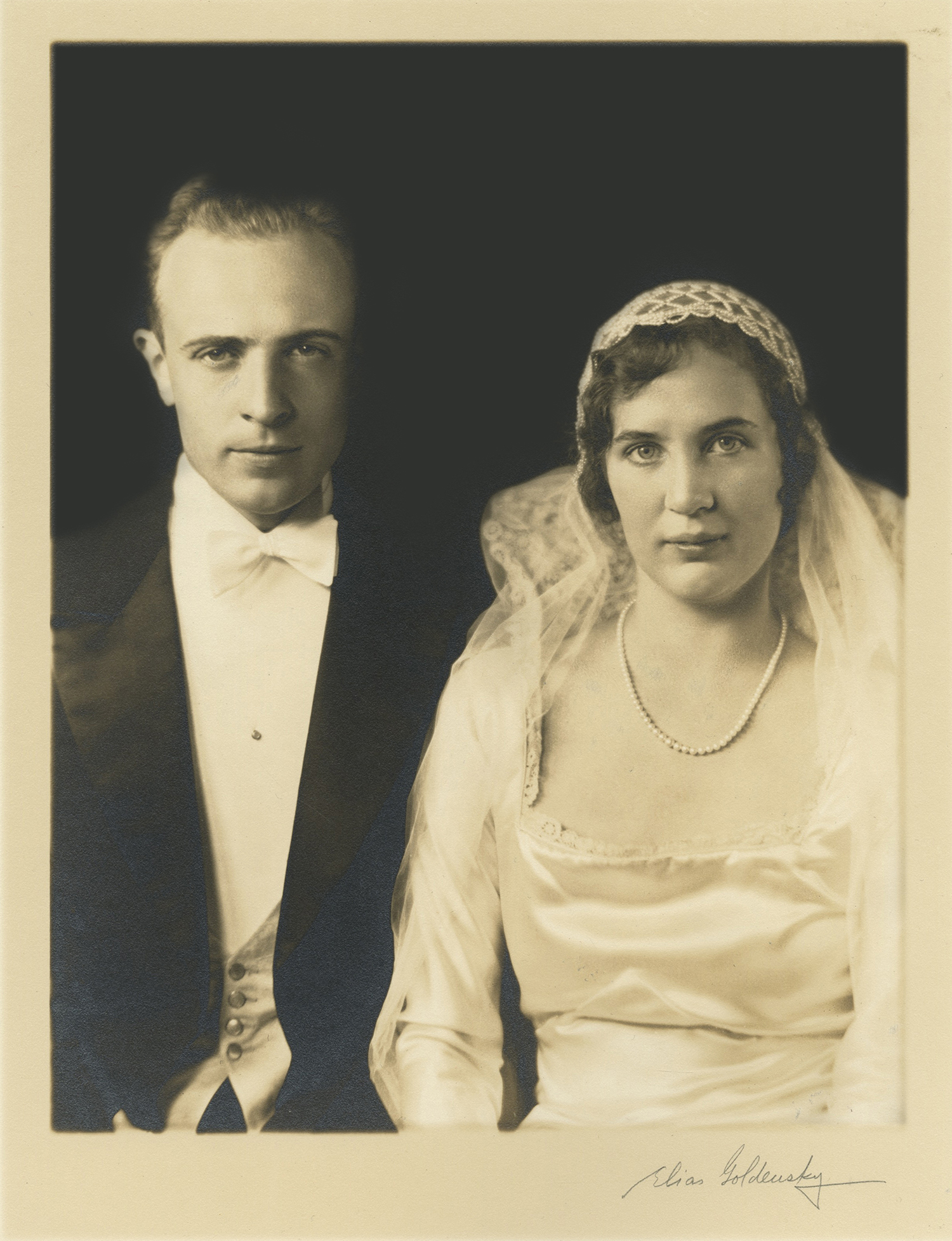 Figure 1: The Rev. Willard Dandridge Pendleton and Gabriele Pitcairn posing for their formal wedding portrait. Photograph by Elias Goldensky.