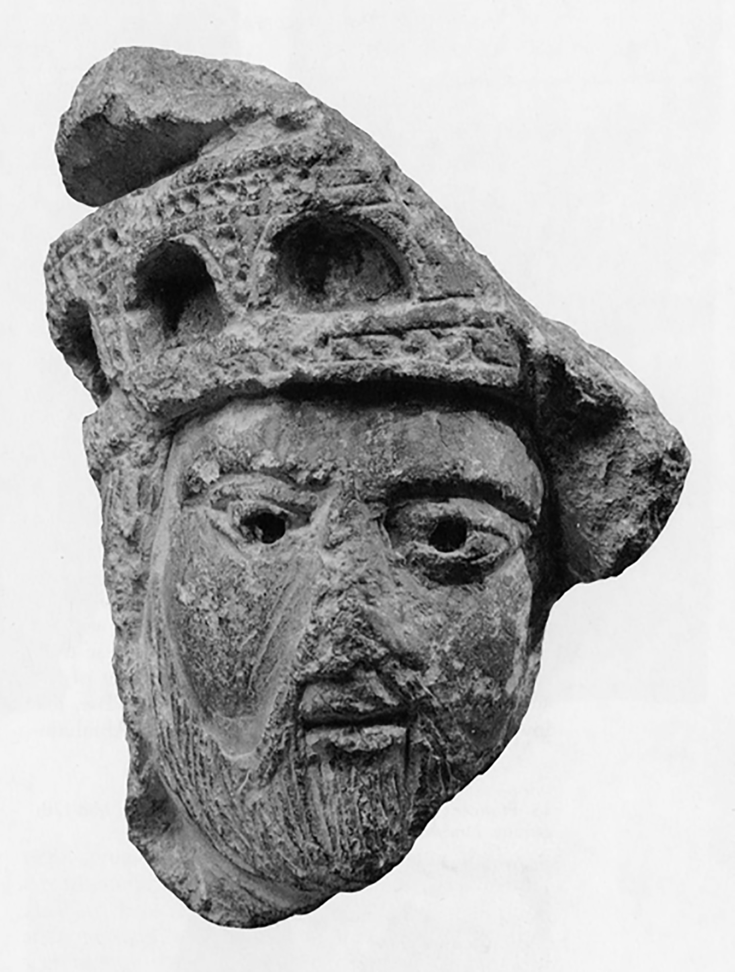 Figure 10: This 12th-century limestone head of a king from the Cathedral of Saint-Lazaire in Autun, France, may have been carved by the master sculptor Gislebertus or one of his assistants. Gislebertus is generally believed to have been charged with the decoration of the entire church. Glencairn Museum 09.SP.2.
