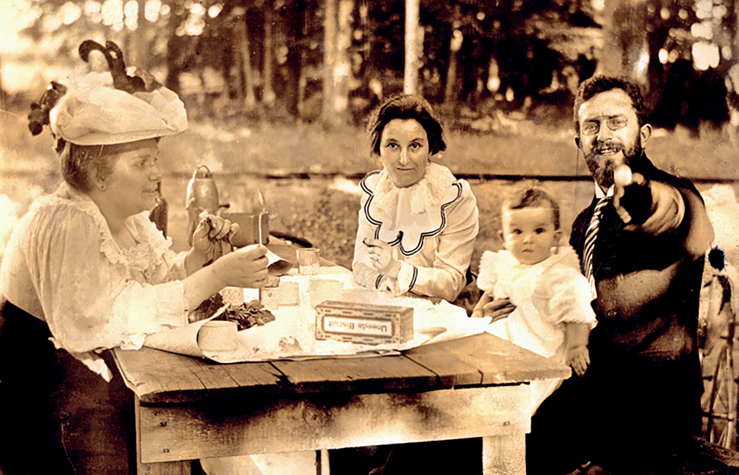 Figure 4: This photograph, taken in 1899, shows residents from the newly formed New Church community in Huntingdon Valley picnicking in Alnwick Grove park (Camille and Marie Vinet, their son Pierre, and Lulu Xandry Odhner). Photo: Academy of the New Church Archives.