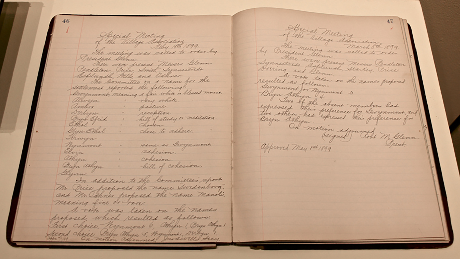 """Figure 7: The minutes of the Village Association record in detail the discussions about naming the New Church settlement, which lasted for more than a year. The name """"Bryn Athyn"""" was chosen by the Association on September 25, 1899. On loan to Glencairn Museum from the Swedenborg Library, Bryn Athyn."""