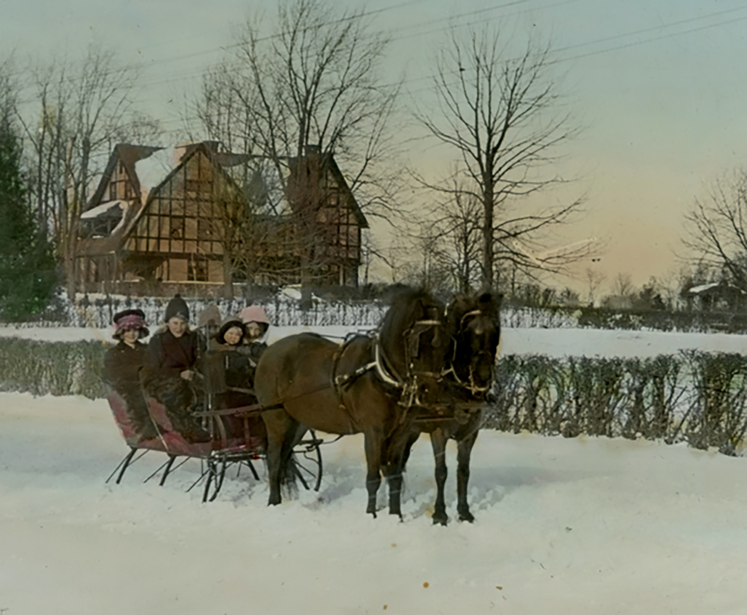 Figure 9: Children in the Cairnwood sleigh, 1914. From a collection of hand-colored lantern slides in the Academy of the New Church Archives showing scenes of early Bryn Athyn.