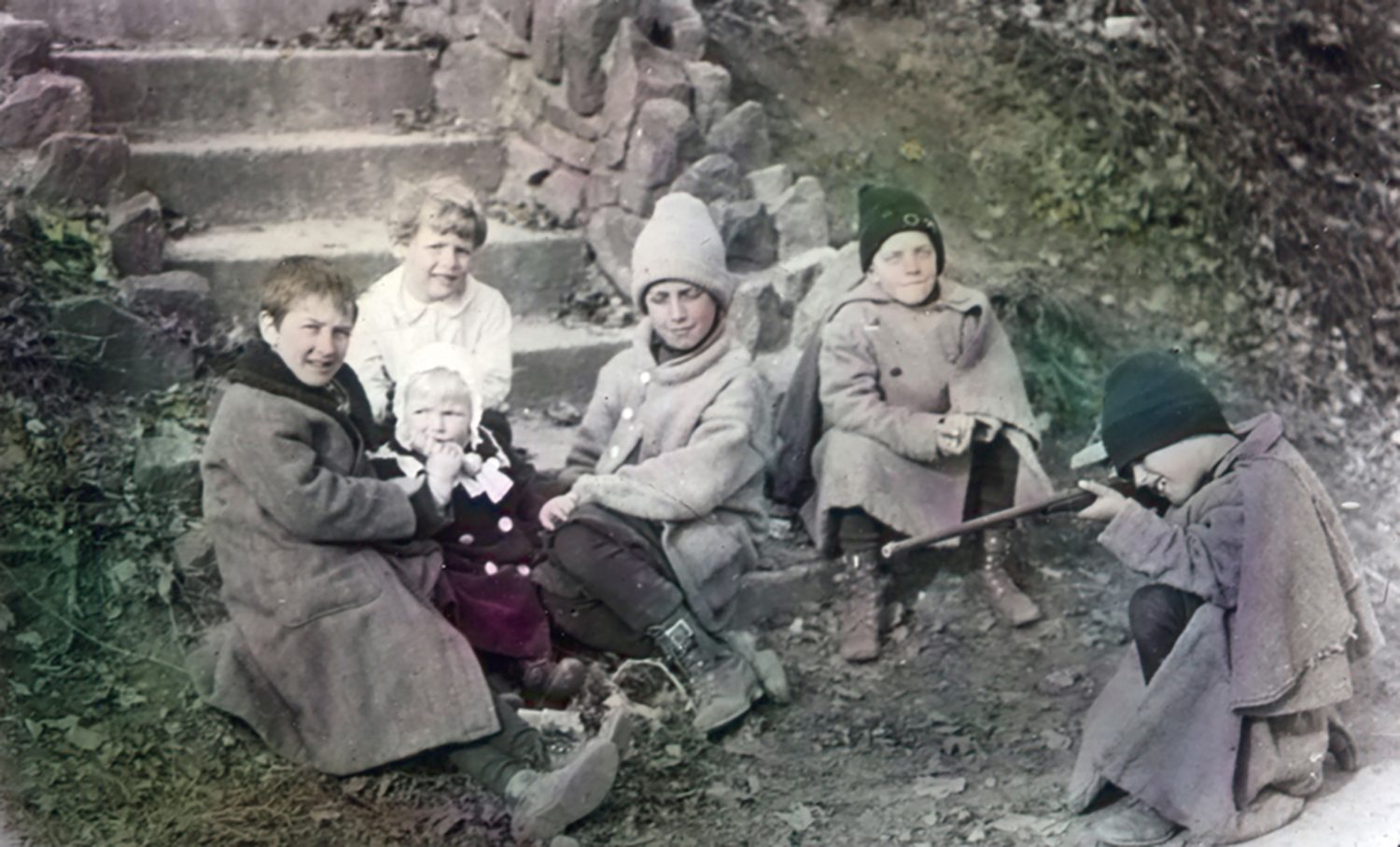 Figure 10: Children at play on South Avenue, 1915. From a collection of hand-colored lantern slides in the Academy of the New Church Archives showing scenes of early Bryn Athyn.