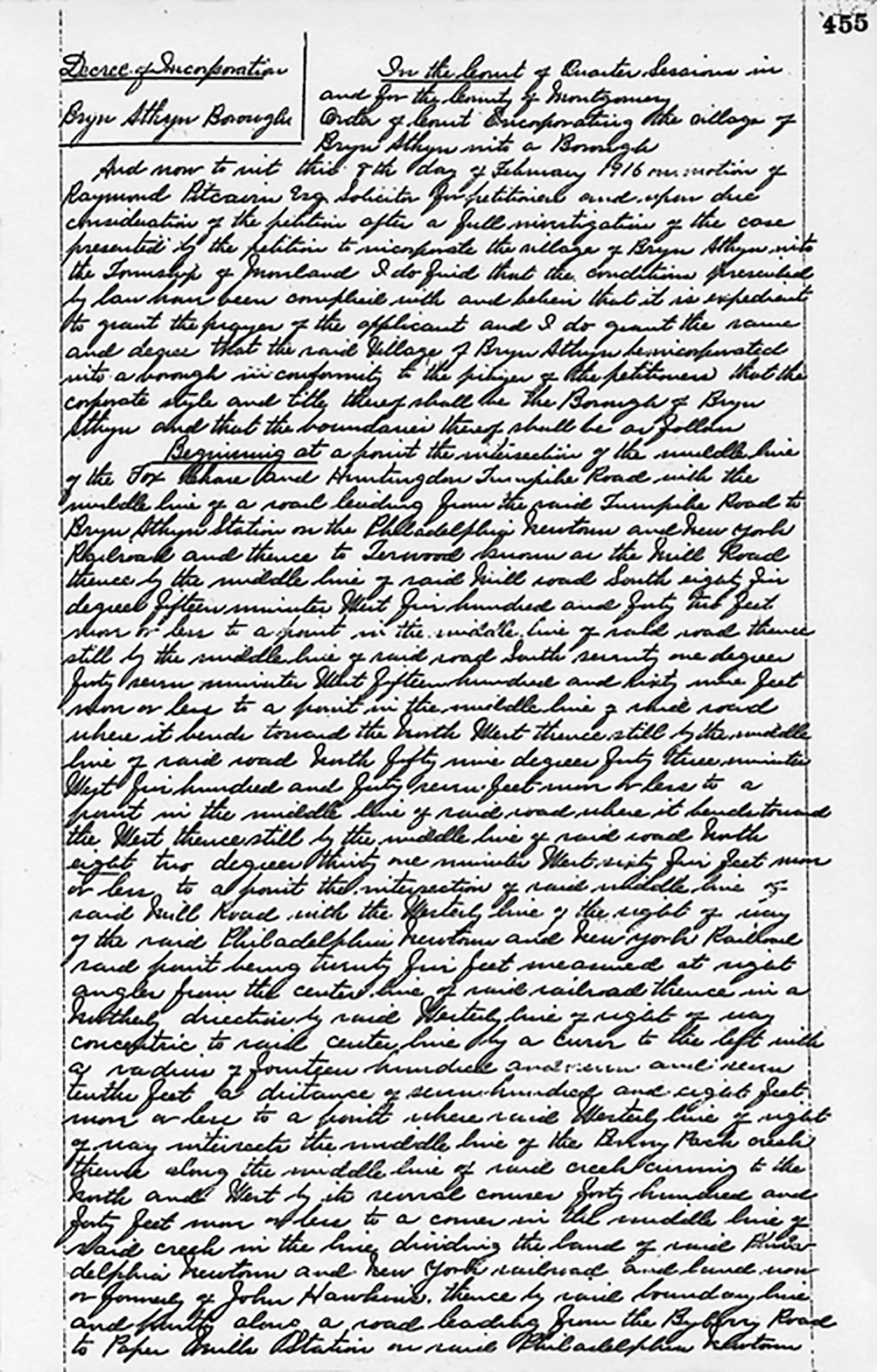 Figure 11: The Decree of Incorporation, written by Judge Aaron S. Swartz, was granted on February 8, 1916. Image courtesy of the Montgomery County Archives, Montgomery County, PA.