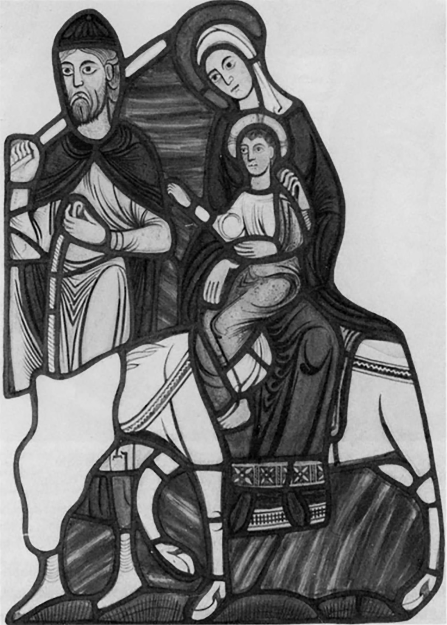 Figure 1: The Arrival of the Holy Family at Sotine, from the Infancy of Christ window of the Abbey Church of Saint Denis, France, c. 1140-1145 (now installed in Wilton parish church, England). This drawing of the panel, made by Charles Winston in 1841, was made before it was installed at Wilton and began to corrode; in its current state, the scene is much more difficult to see.