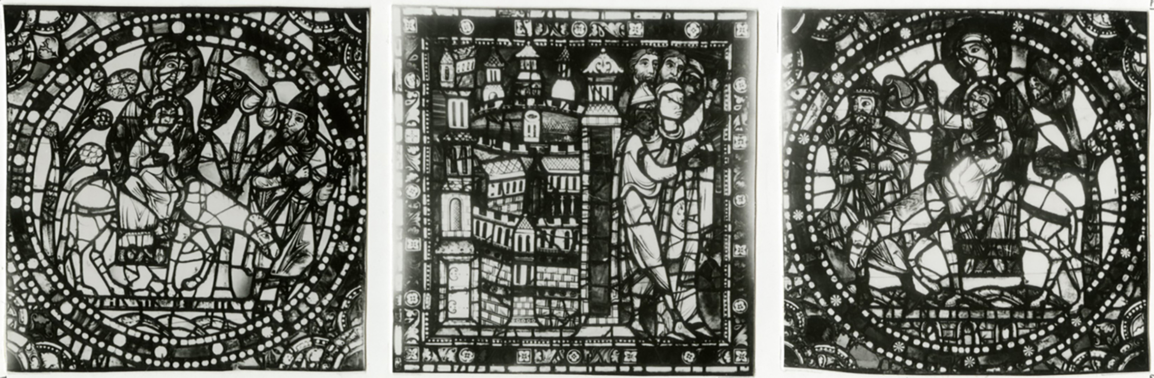Figure 4: The Flight into Egypt (left) and the Arrival of the Holy Family at Sotine (center and right), from the Infancy of Christ window of the Cathedral of Chartres, France, c. 1150-1155.