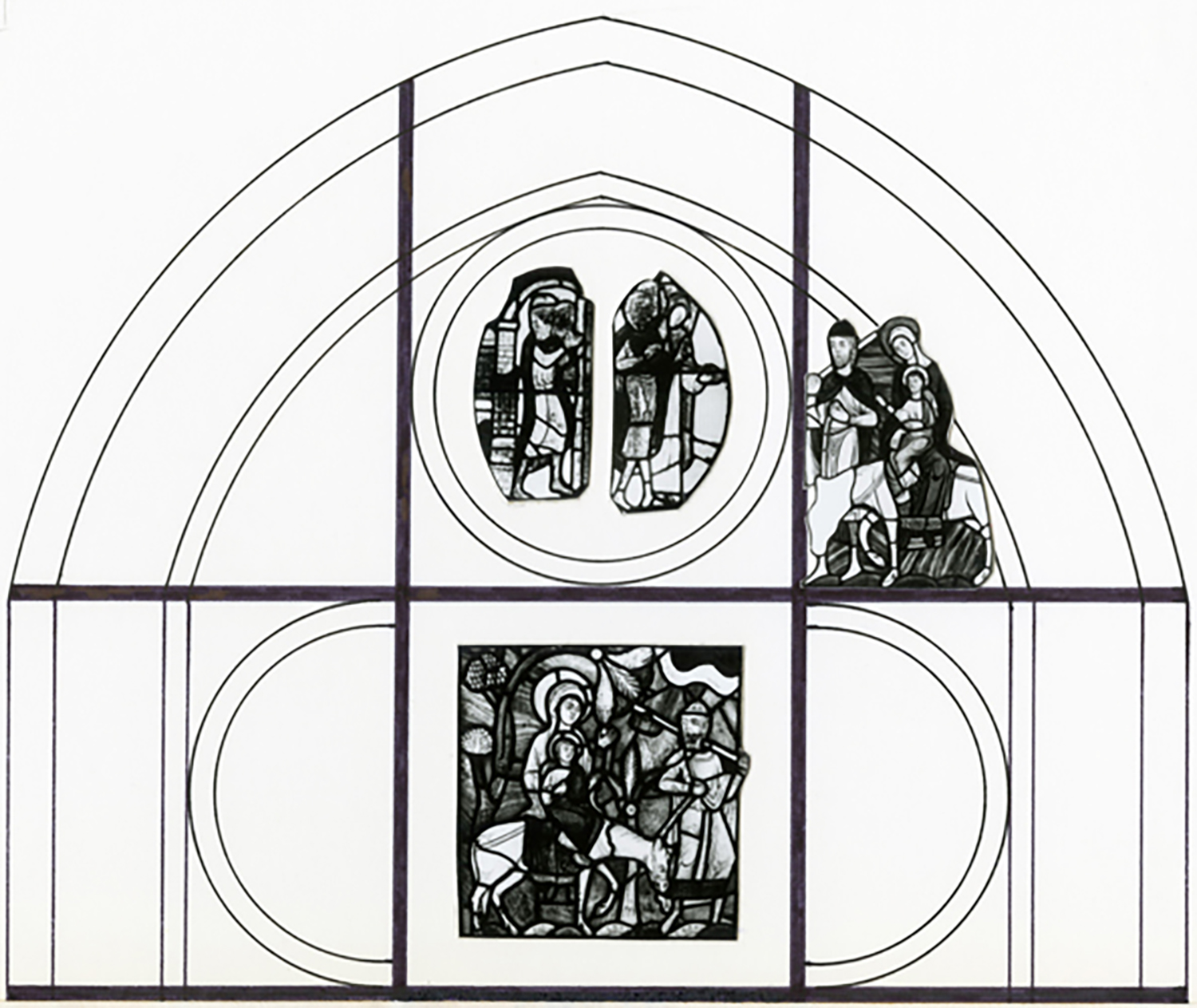 Figure 5: Reconstruction of the upper two registers of the Infancy of Christ window from Saint-Denis, incorporating the Pitcairn Flight into Egypt and three panels now installed in Wilton parish church, England.