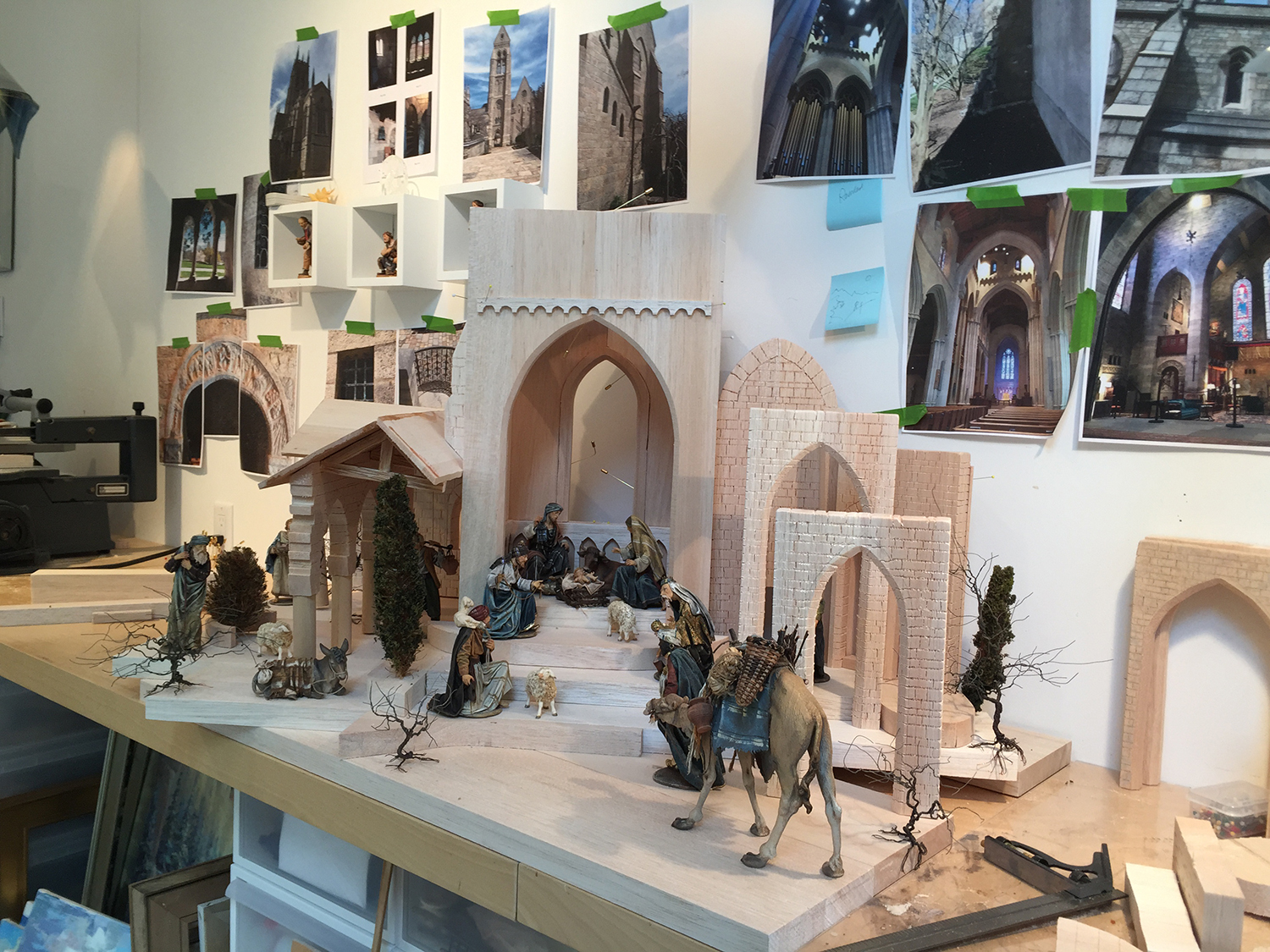 Figure 3:  The Glencairn Nativity  in an early stage of development in the atelier of Navidad Nativities, Bucks County, PA.