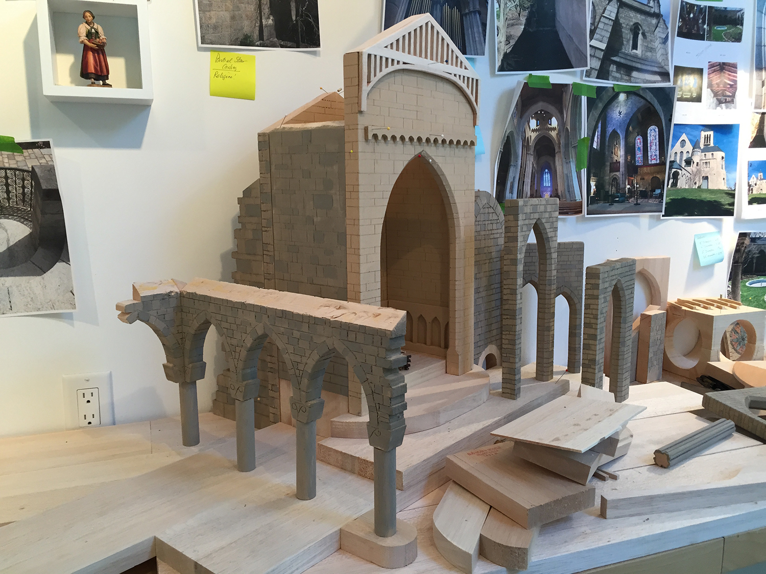 Figure 4:  The Glencairn Nativity  under construction. Columns and capitals from Glencairn's Cloister can be seen on the left.
