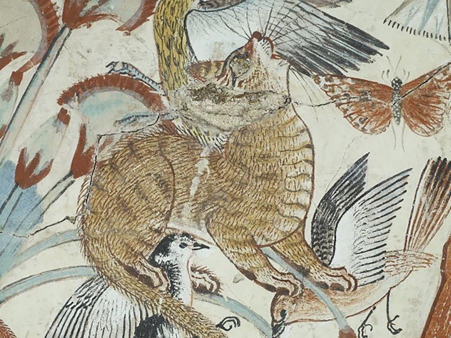 Figure 6: A detail of a hunting cat from the tomb of Nebamun, Dynasty 18 (ca. 1350 BCE). British Museum EA37977. Image courtesy of the British Museum.