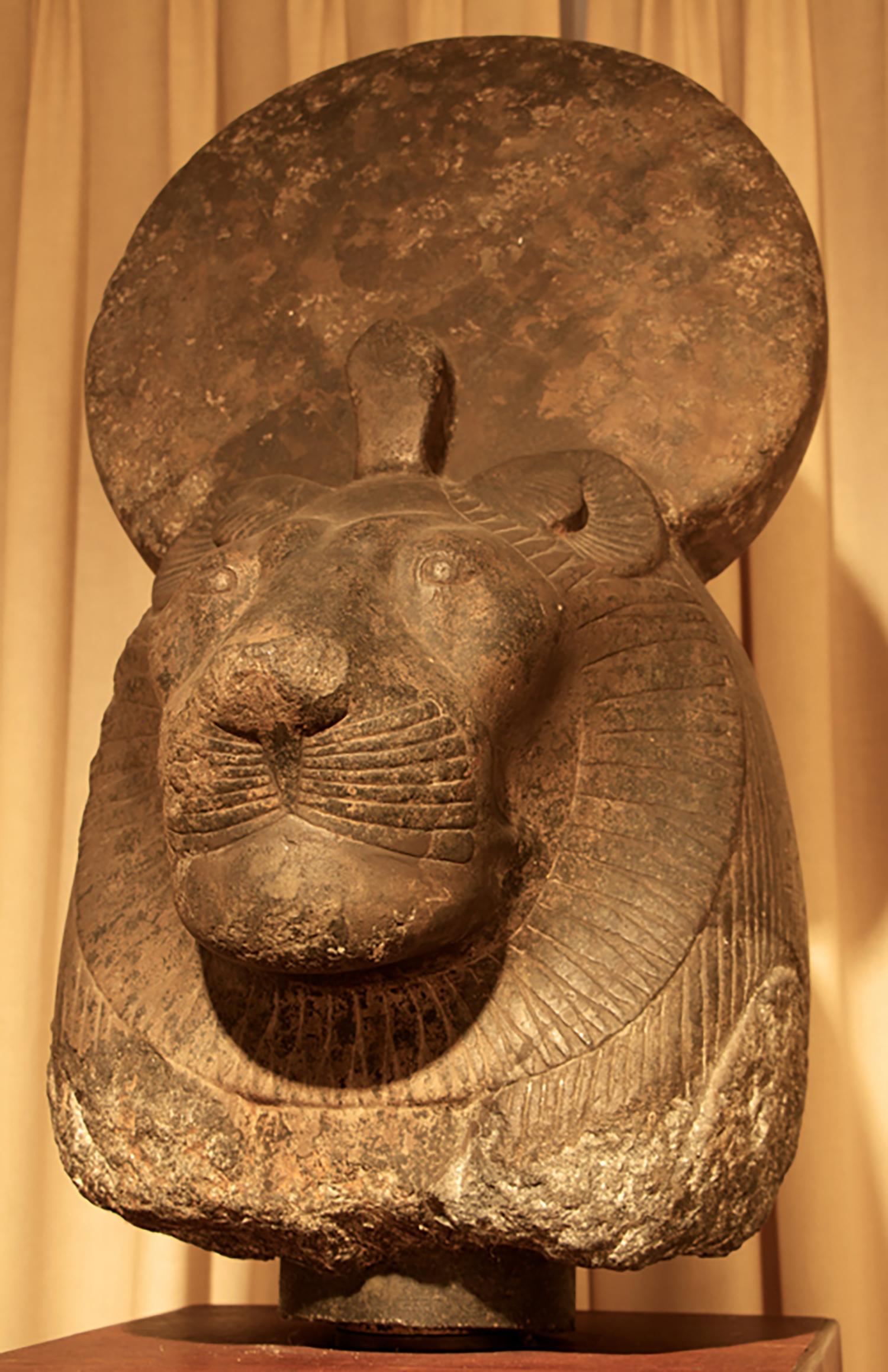 Figure 23: Head from a granite statue of the goddess Sekhmet, New Kingdom (ca. 1391 BCE–1353 BCE). Glencairn Museum E1157.