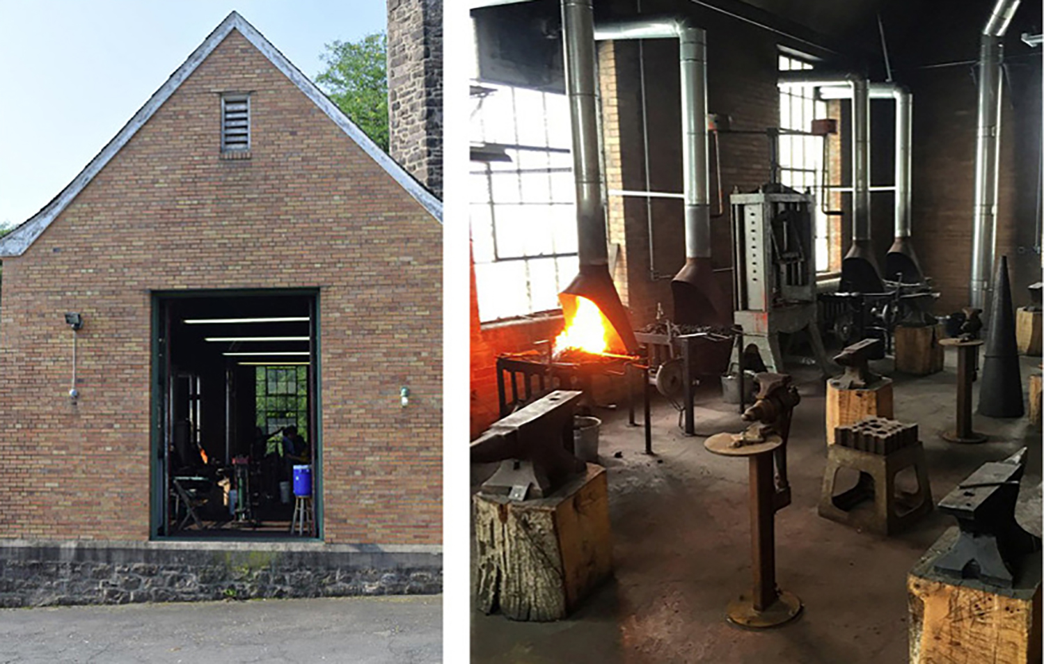 Figure 1: Outside and inside views of the Bryn Athyn College metalwork studio. The studio is located in a building that once served as a heating plant for Cairnwood Estate and Glencairn. Photographs by Warren Holzman.