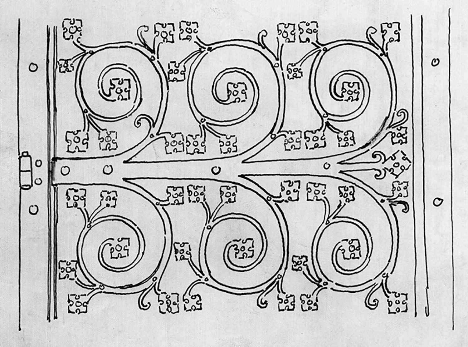 Figure 10: A preliminary design concept for a hinge by Parke Edwards, the principal metalwork designer for Bryn Athyn Cathedral. This particular design is only one on a page containing several design ideas for the Cathedral's west door. It was signed and dated by Edwards on March 16, 1917.
