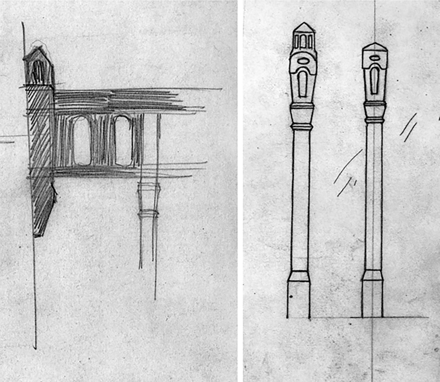 Figure 14: These rough sketches by Parke Edwards appear to be design ideas for Glencairn's third-floor balcony railing.