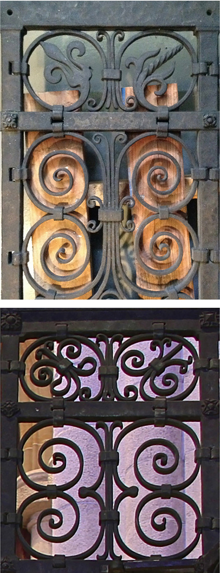 Figure 16: The top photograph shows a portion of the steel model of Bryn Athyn Cathedral's chapel grill, now in the collection of Glencairn Museum. Below is a similar section of the completed grill in Monel. Compare the top registers to see how the different qualities of the two metals cause the general design concepts to be rendered.