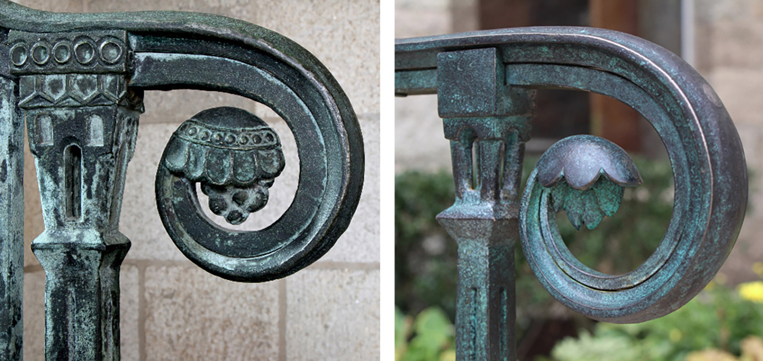 Figure 21: On the left is a Monel railing made by Bryn Athyn Studios (circa 1920s). It is located in the undercroft of the Council Hall in Bryn Athyn Cathedral. This railing handle provided inspiration for the new Glencairn railing made by Warren Holzman, pictured on the right.