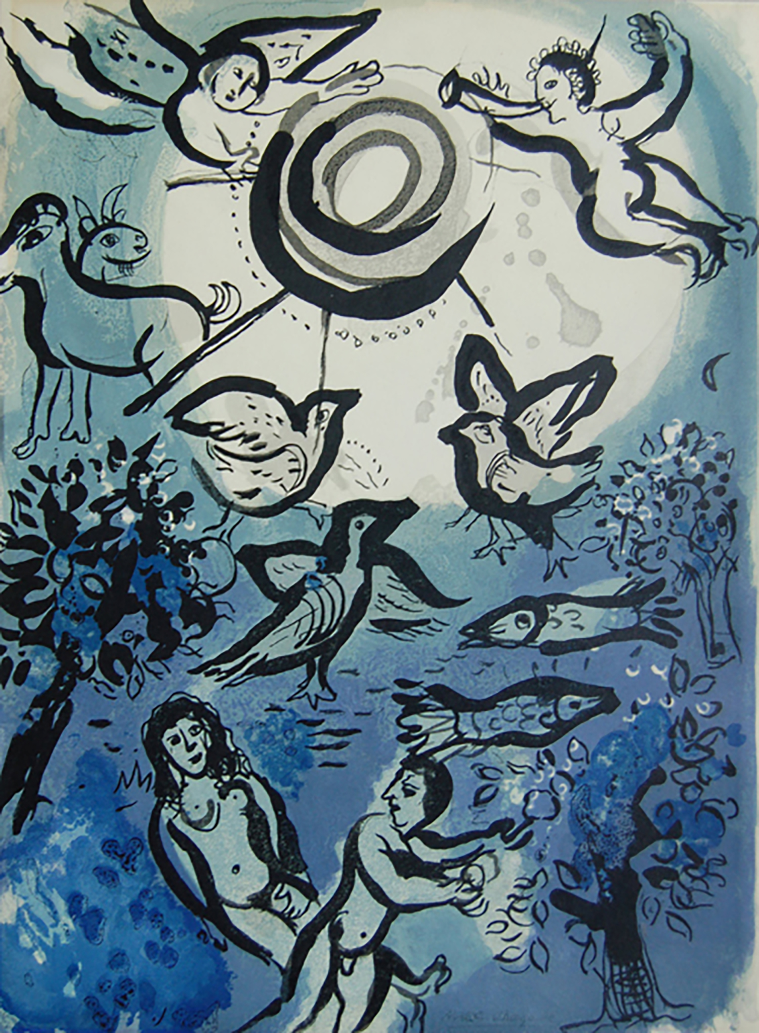 Figure 2:  Creation . Chagall opens his 1960 Bible Suite with a stunning and imaginative depiction of creation. The ethereal blues and the floating images of birds, animals, and angels swirl around a central sun/moon image. Set at an angle to each other, Eve seems to emerge from Adam's side, recalling the biblical story of the creation of Eve from the rib of Adam. All elements combine to portray a celebratory view of God's creation.