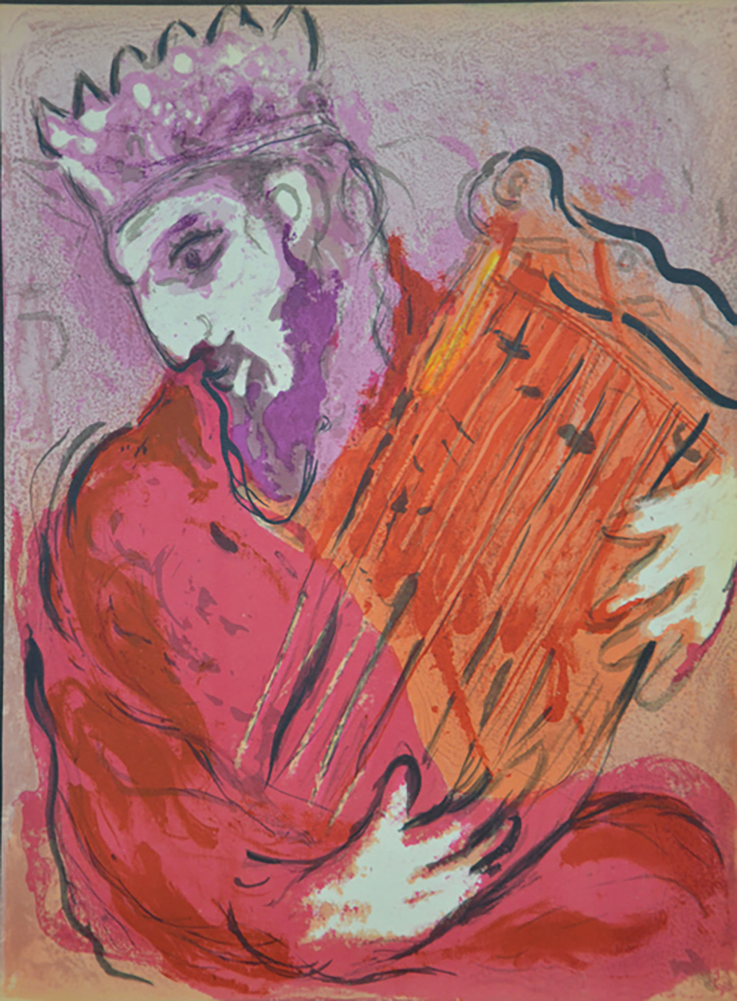 "Figure 5:  David with His Harp . ""Whenever the spirit from God came on Saul, David would take up his lyre and play. Then relief would come to Saul; he would feel better, and the evil spirit leave him"" (I Samuel 16:23). Chagall chose vibrant tones of red, orange, and violet to portray David playing the harp. He appears intently listening to the quieting music that flows from the instrument."
