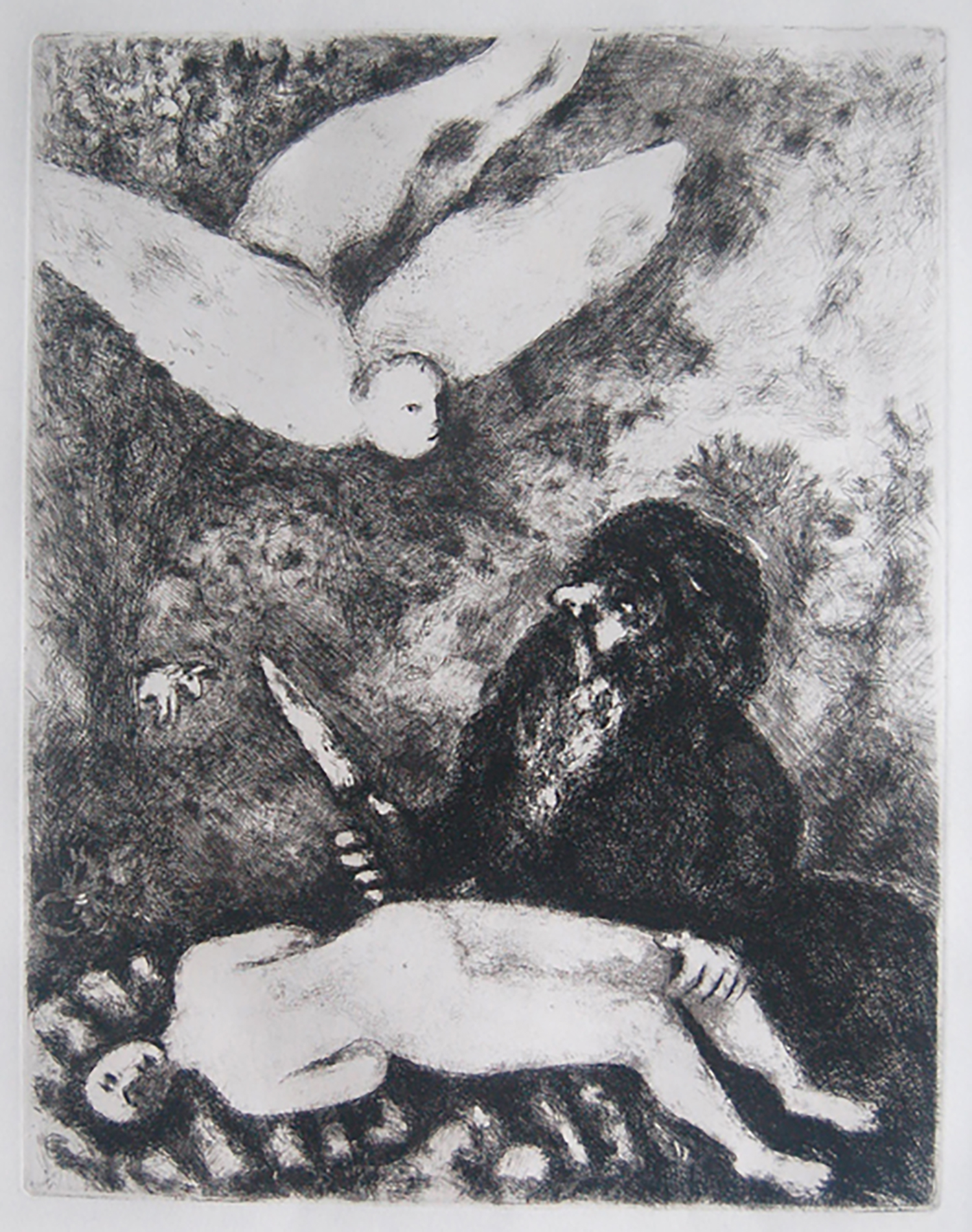 Figure 8:  The Sacrifice of Abraham . Chagall's expression of man's faith in God reaches a climax in this dramatic scene. Abraham gently holds Isaac's leg with one hand and lifts the knife with the other. The sudden descent of the angel arrests his movement and Abraham's submissive eyes are locked onto God's messenger. The small white ram that will replace Isaac as the offering emerges from the dense thicket on the left. In describing his childhood nightmares, Chagall alludes to the frightening imagery of this sacrifice.
