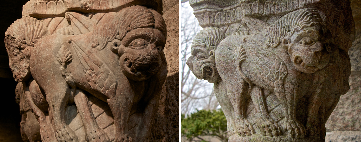 Figure 5: On the left is a capital from the 12th-century Benedictine monastery of Saint-Michel-de-Cuxa in France, now on exhibit in the Medieval Gallery at Glencairn Museum (09.SP.168). This capital served as the model for a capital in Glencairn's porte-cochère (right), carved in Bryn Athyn in the 1930s.