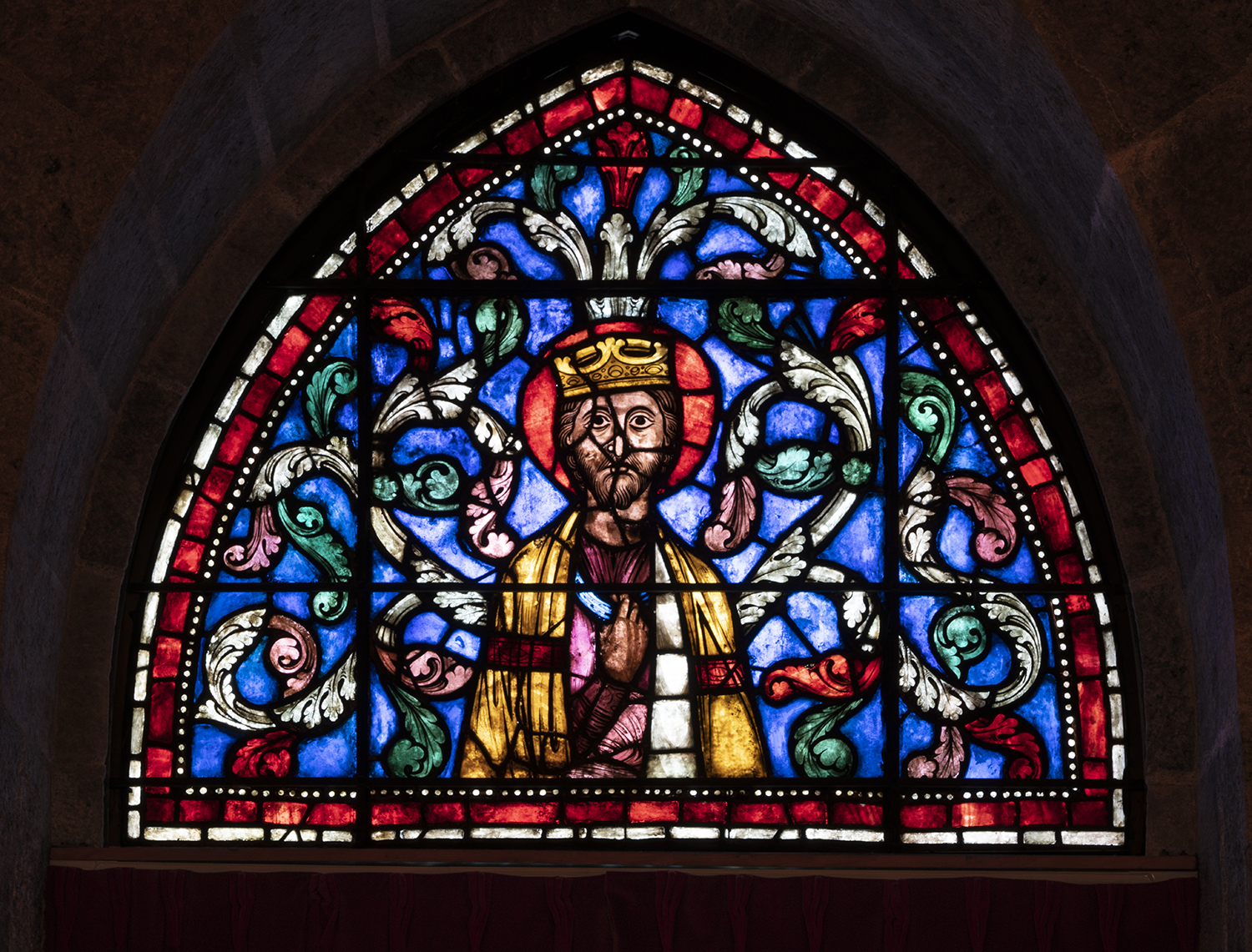 Figure 2:Old Testament King, stained-glass panel from the Church of Saint-Gervais-et-Saint-Protais, Soissons, France, c. 1210-15 (03.SG.229).
