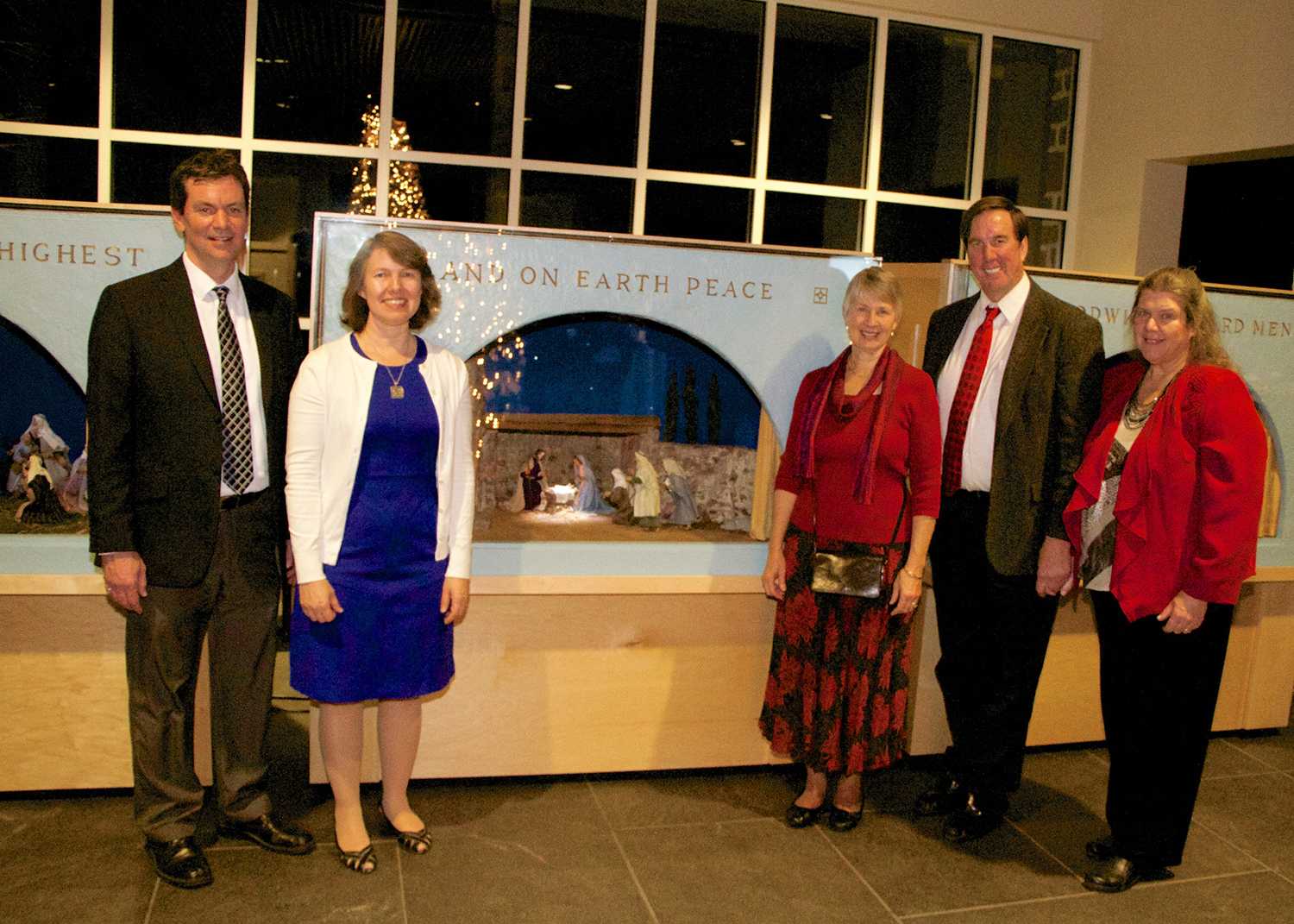 Figure 9: Representatives from Bryn Athyn at a celebration of the installation of the Eisenhower Nativity at the National Military Park Museum and Visitor Center. From left to right, Brian Henderson (director of Glencairn Museum), Kirsten Hansen Gyllenhaal (museum researcher at Glencairn Museum), Lynn Pitcairn Genzlinger, Ken Schauder, and Glynn Cole Schauder. Lynn and Glynn are granddaughters of Raymond and Mildred Pitcairn. Not pictured: Ed Gyllenhaal (curator of Glencairn Museum). Photo: Ed Gyllenhaal.