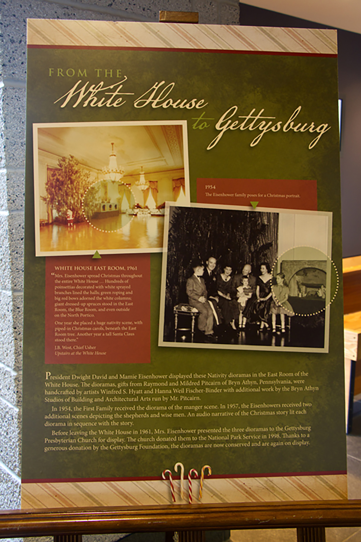 Figure 10: Interpretive signage for the White House Nativity exhibit at the National Military Park Museum and Visitor Center. Photo: Ed Gyllenhaal.