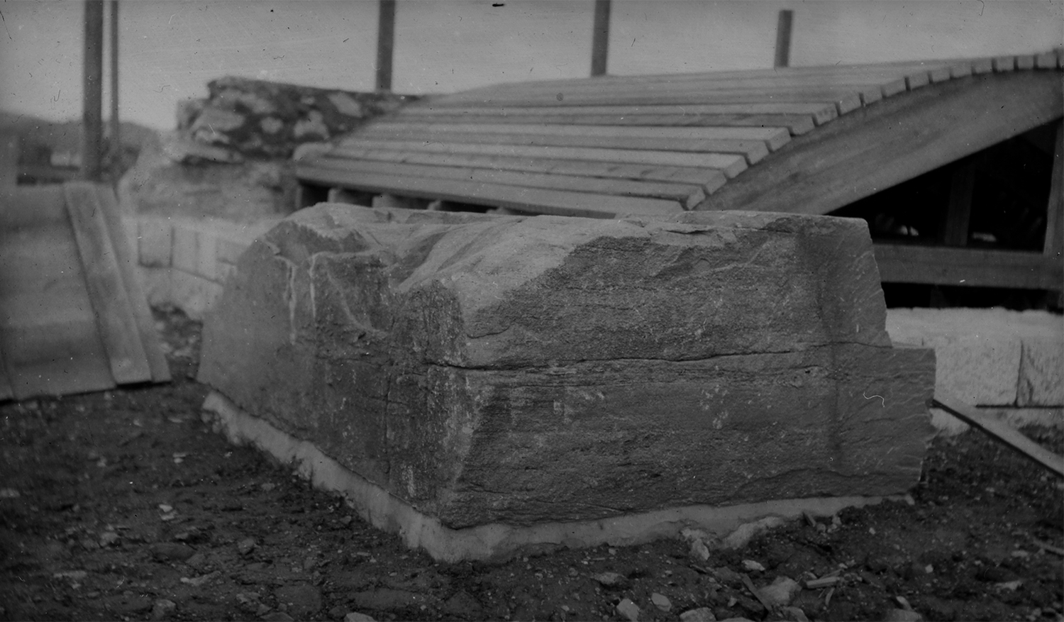 Figure 6: The cornerstone in place as construction proceeds during the summer of 1914.