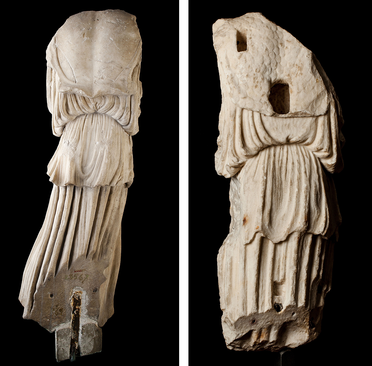 Figure 3a (left) and 3b (right): Back views of the Glencairn Minerva Victoria (left) and the Sorgente Athena Nike (right).