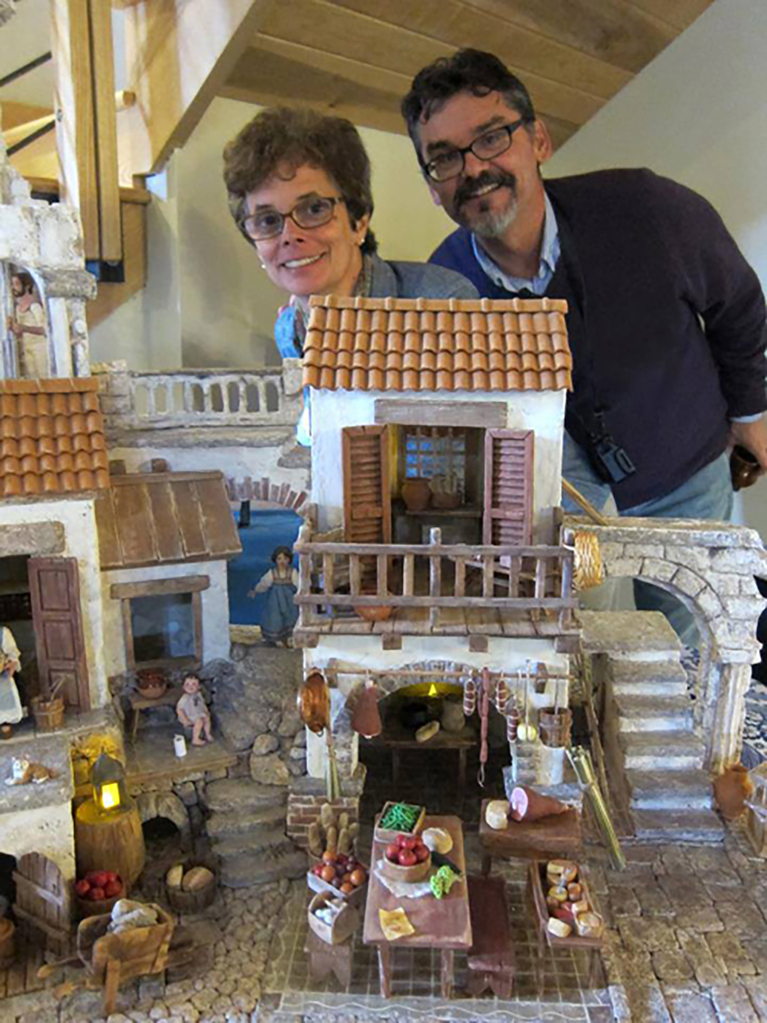 Figure 1: Karen Loccisano and R. Michael Palan with their Presepio during its construction.